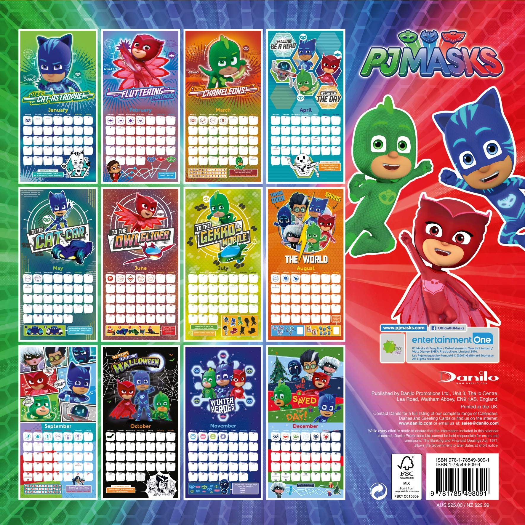 Pj Masks ficial 2019 Calendar Square Wall Calendar Format Amazon Pj Masks Books