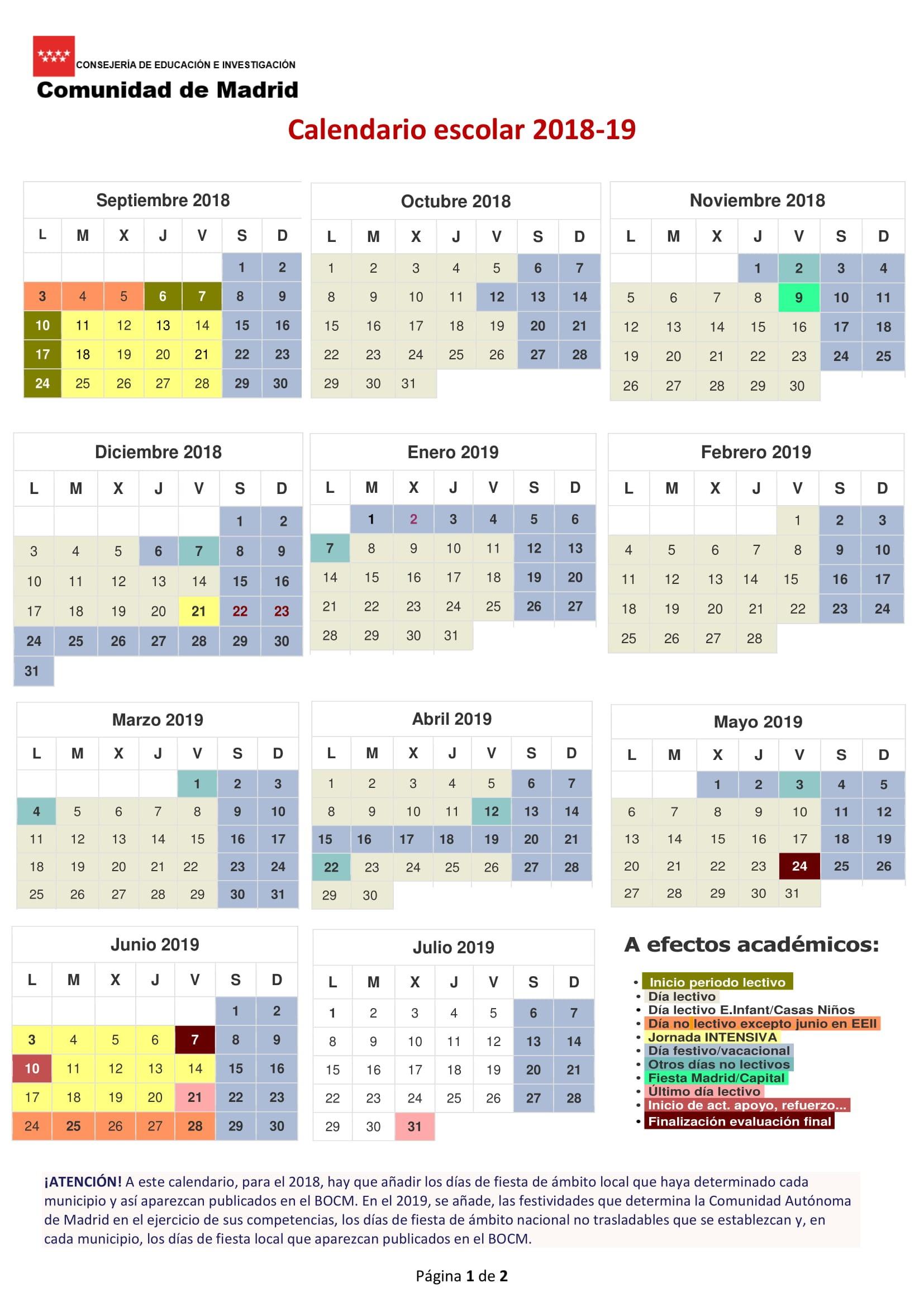 Calendario 2019 Para Llenar E Imprimir Más Reciente Calendario Escolar 2018 2019 En Madrid Vacaciones Y Das Festivos Of Calendario 2019 Para Llenar E Imprimir Más Recientes Cobao