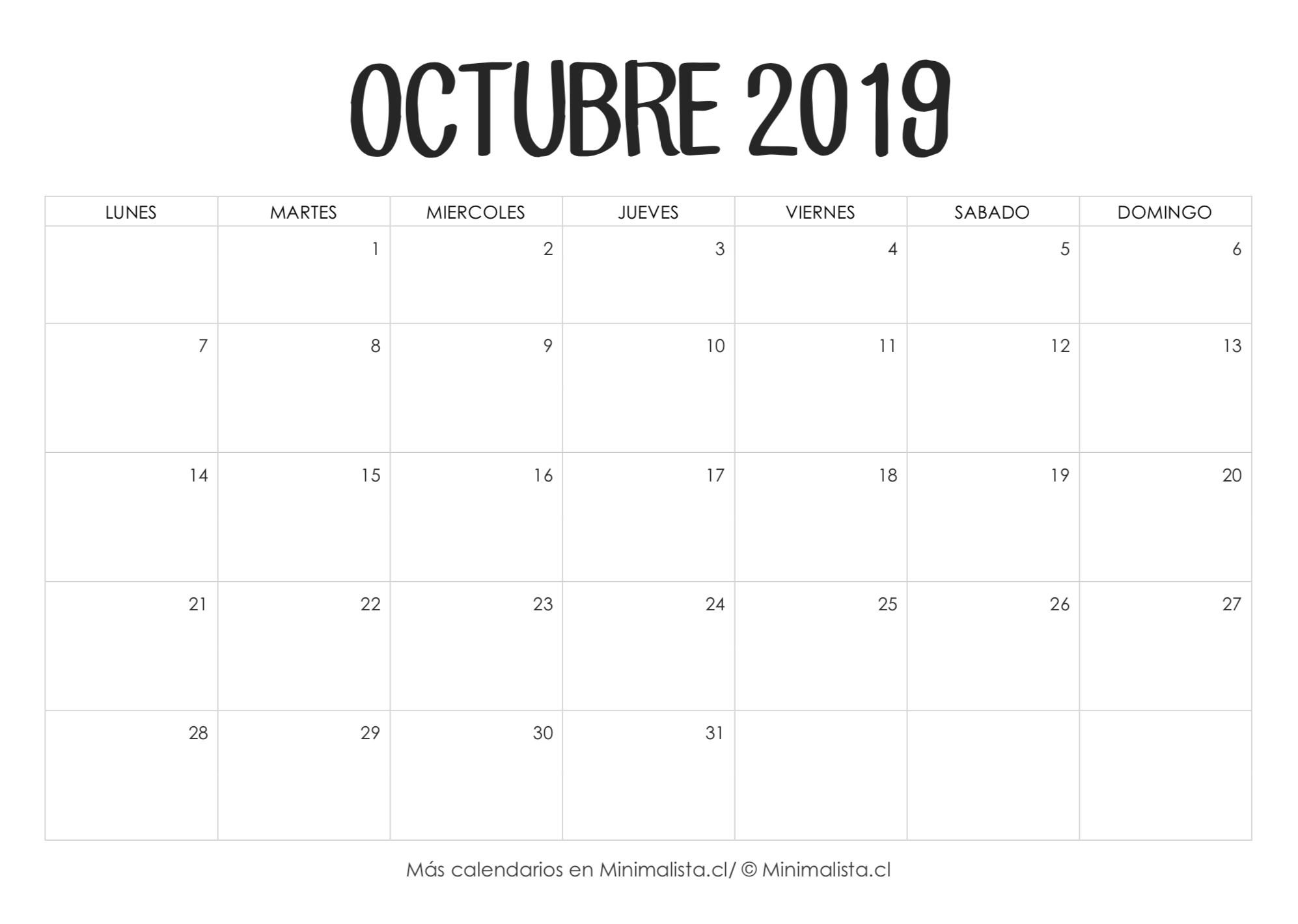 Calendario Octubre 2019 para Imprimir