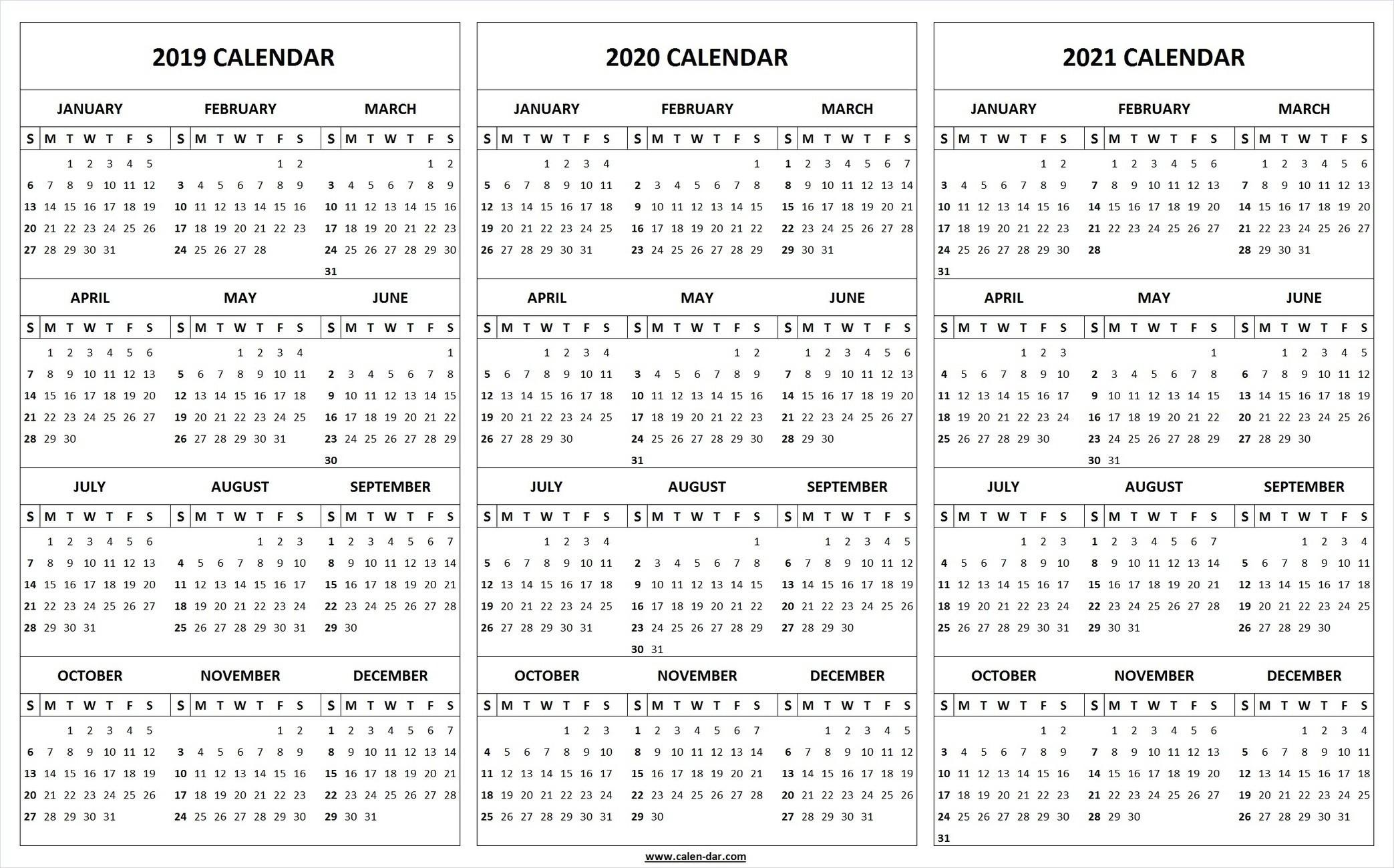 Printable 2019 2020 2021 Calendar Template