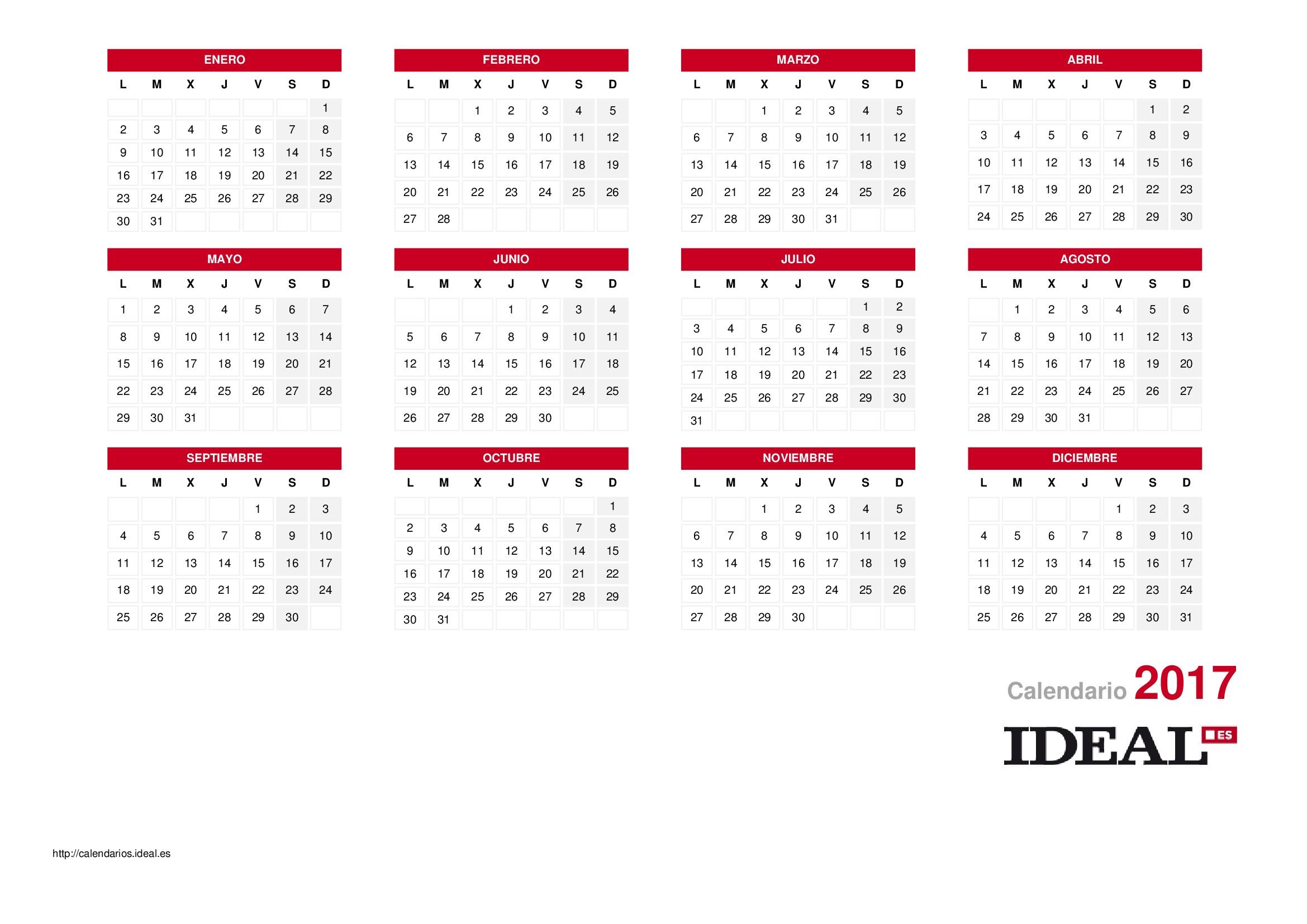 Calendario laboral de 2018 Calendarios Ideal Das Festivos