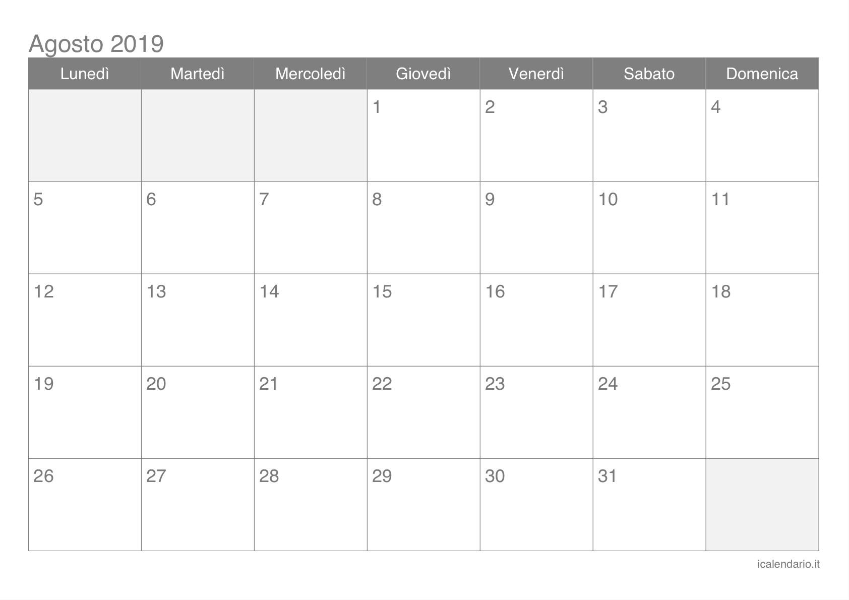 Calendario Agosto Settembre 2019 Más Recientemente Liberado Calendario Agosto 2019 Da Stampare Icalendario