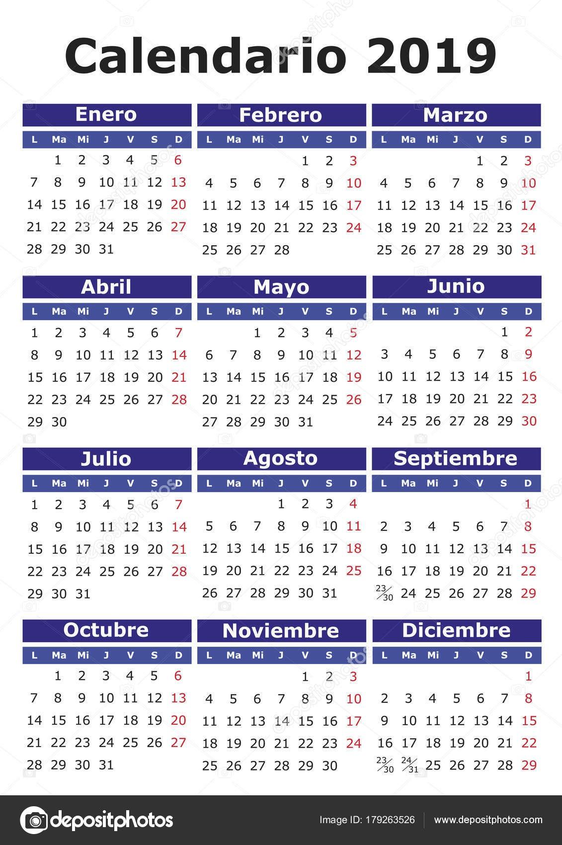 Calendario de vector de 2019 en espa±ol Fácil de editar y aplicar Calendario 2019 dias festivos mexico 2019 — Vector de alfonsodetomas — Vector de