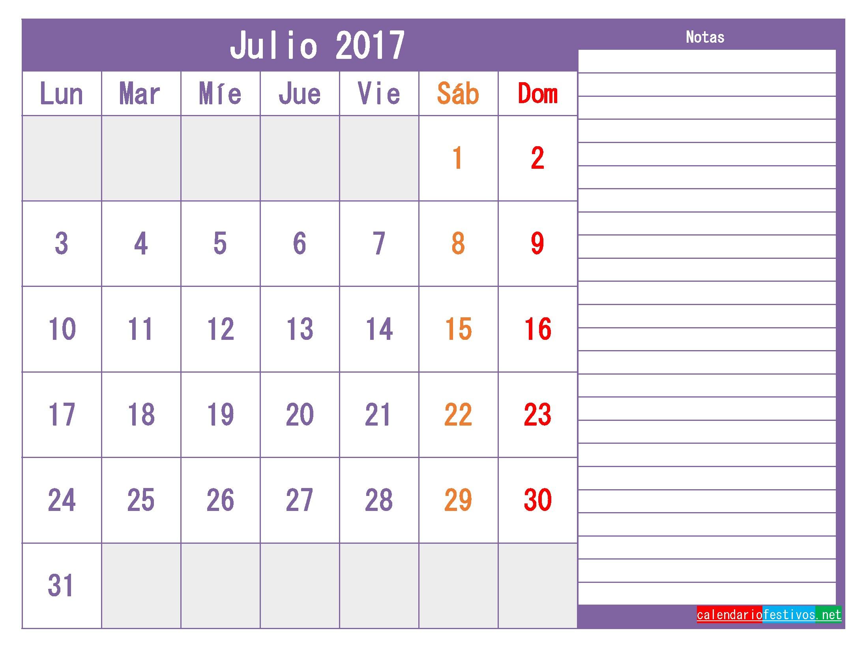Plantilla Calendario julio 2017 para imprimir gratis pdf