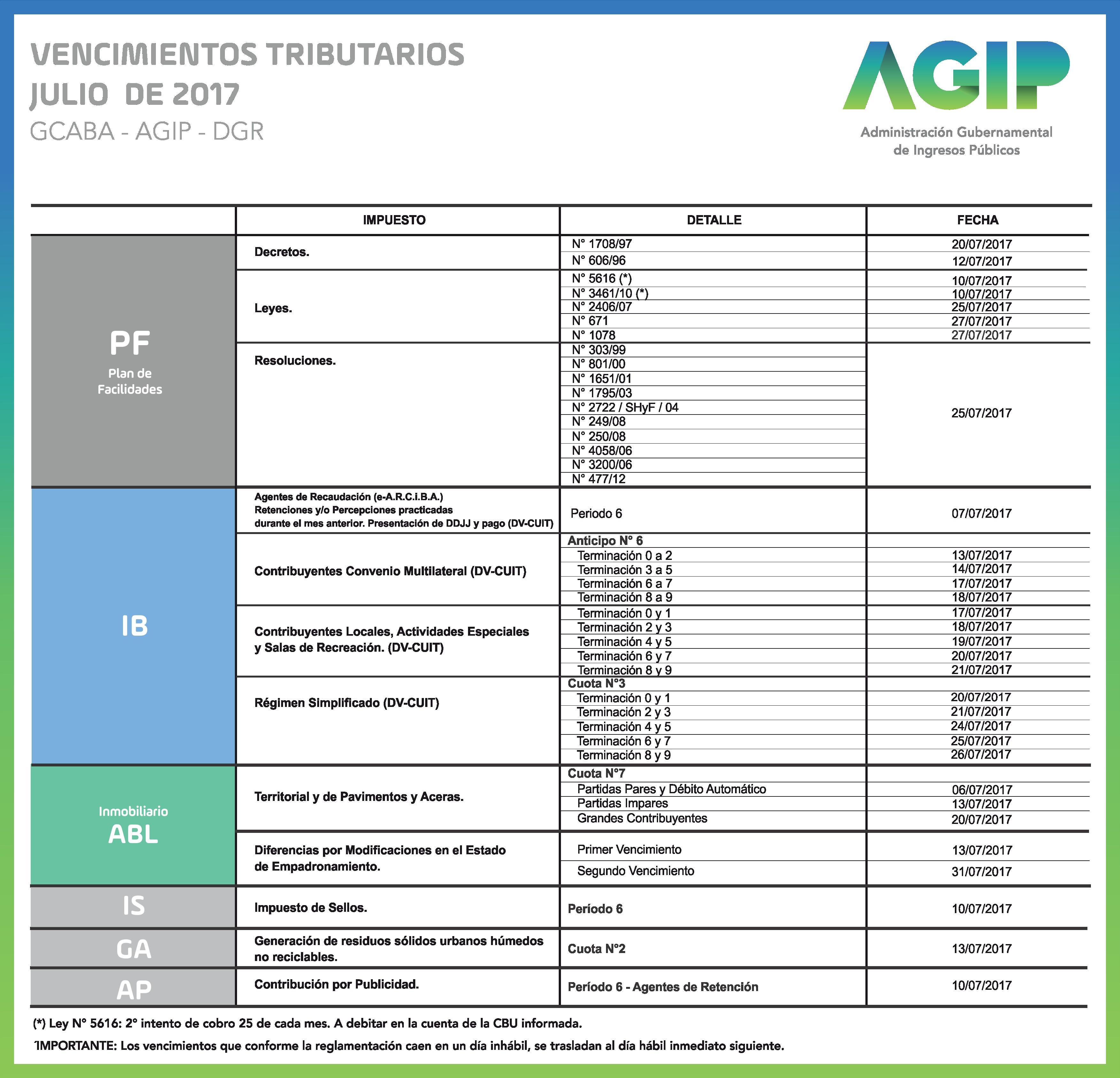 AGIP Calendario mensual