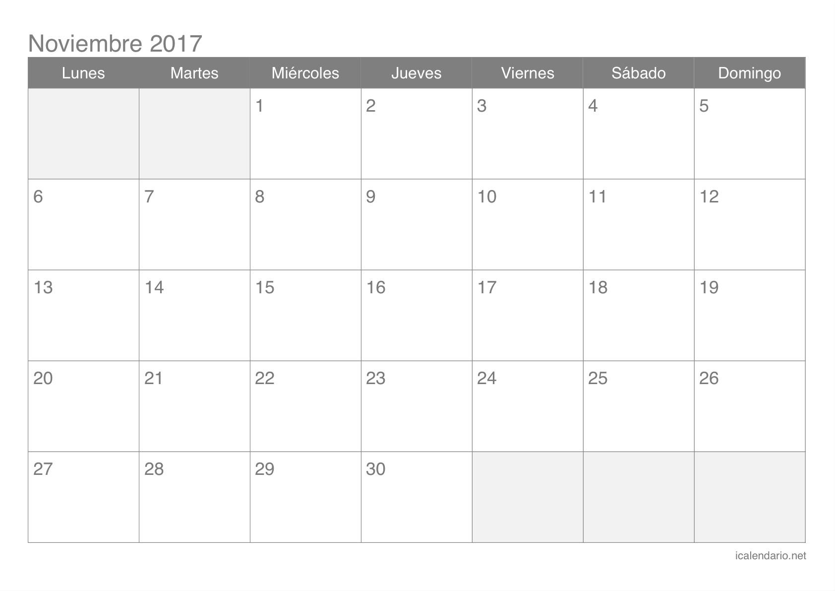 Calendario De Noviembre 2017 Para Imprimir Mejores Y Más Novedosos Calendario Noviembre 2017 Para Imprimir Icalendario