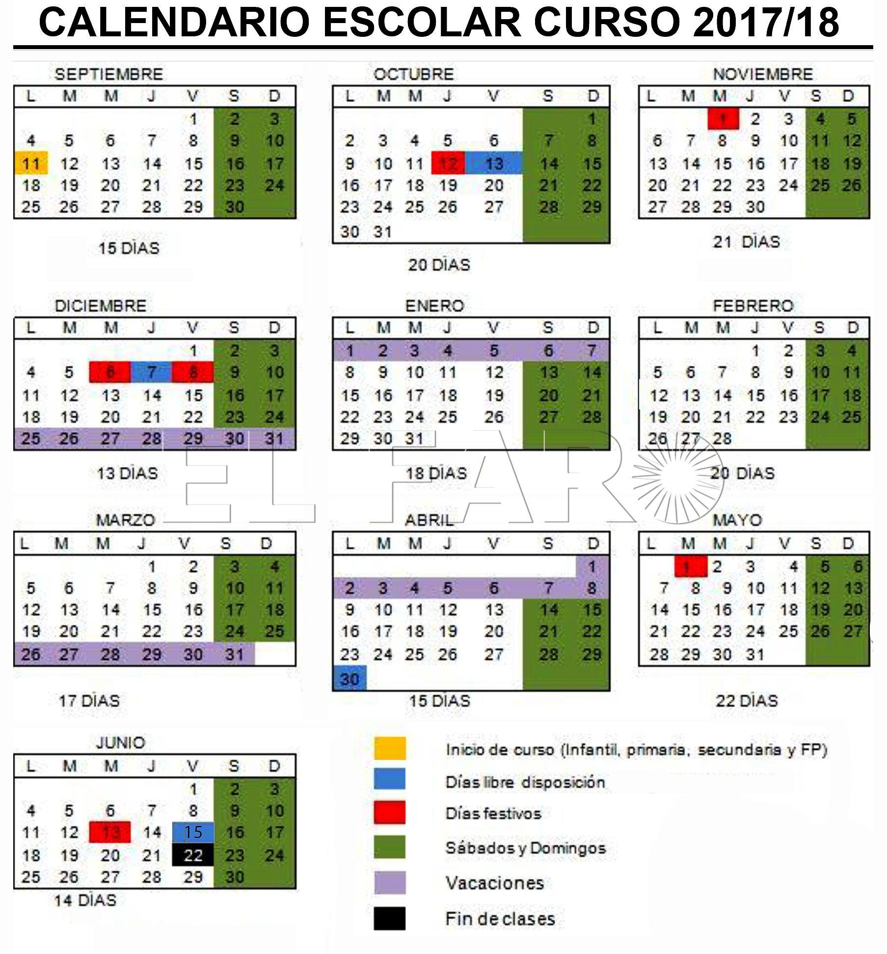 Descarga el calendario 2017 2018 para Ceuta