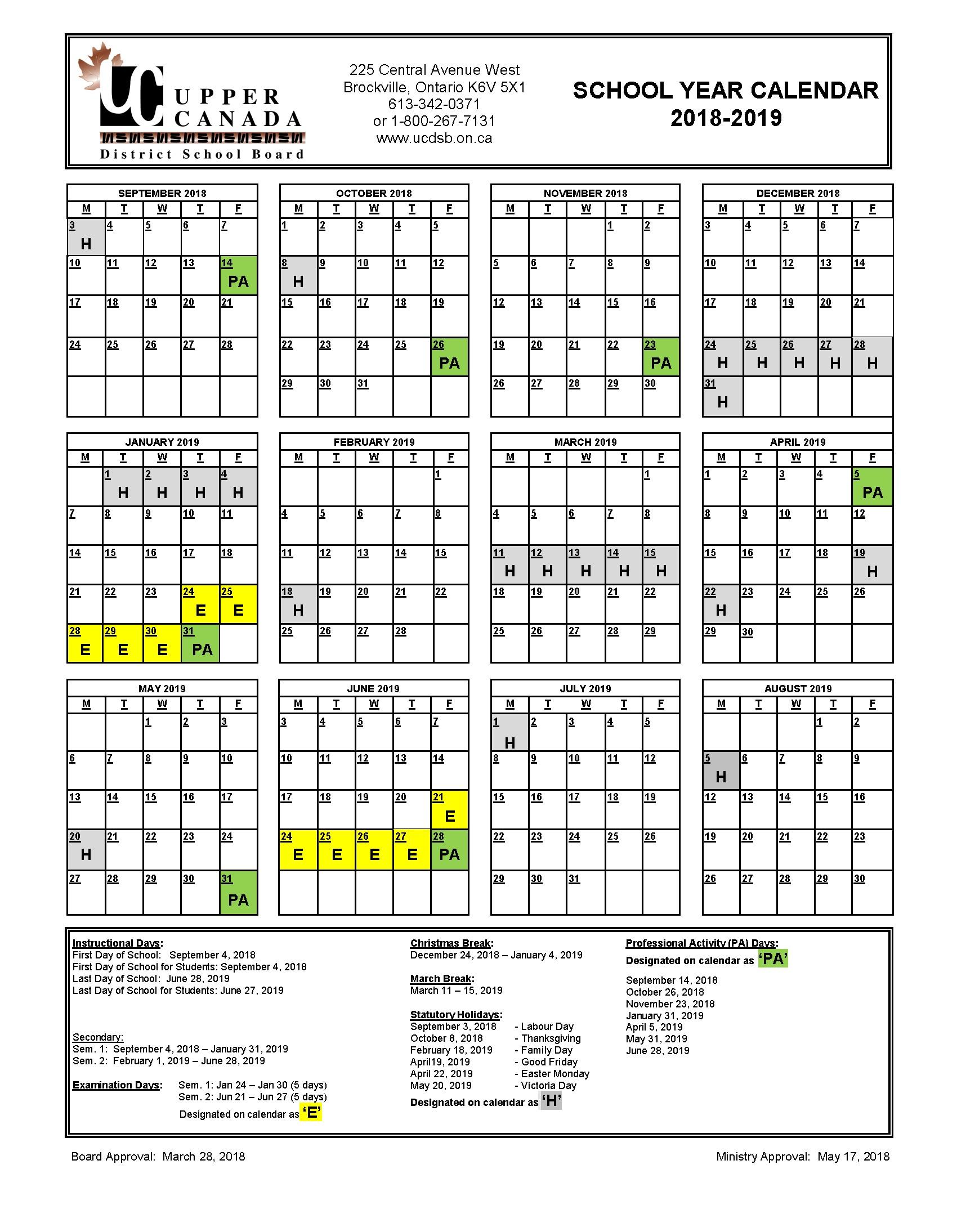 2018 2019 School Year Calendar Upper Canada District School Board