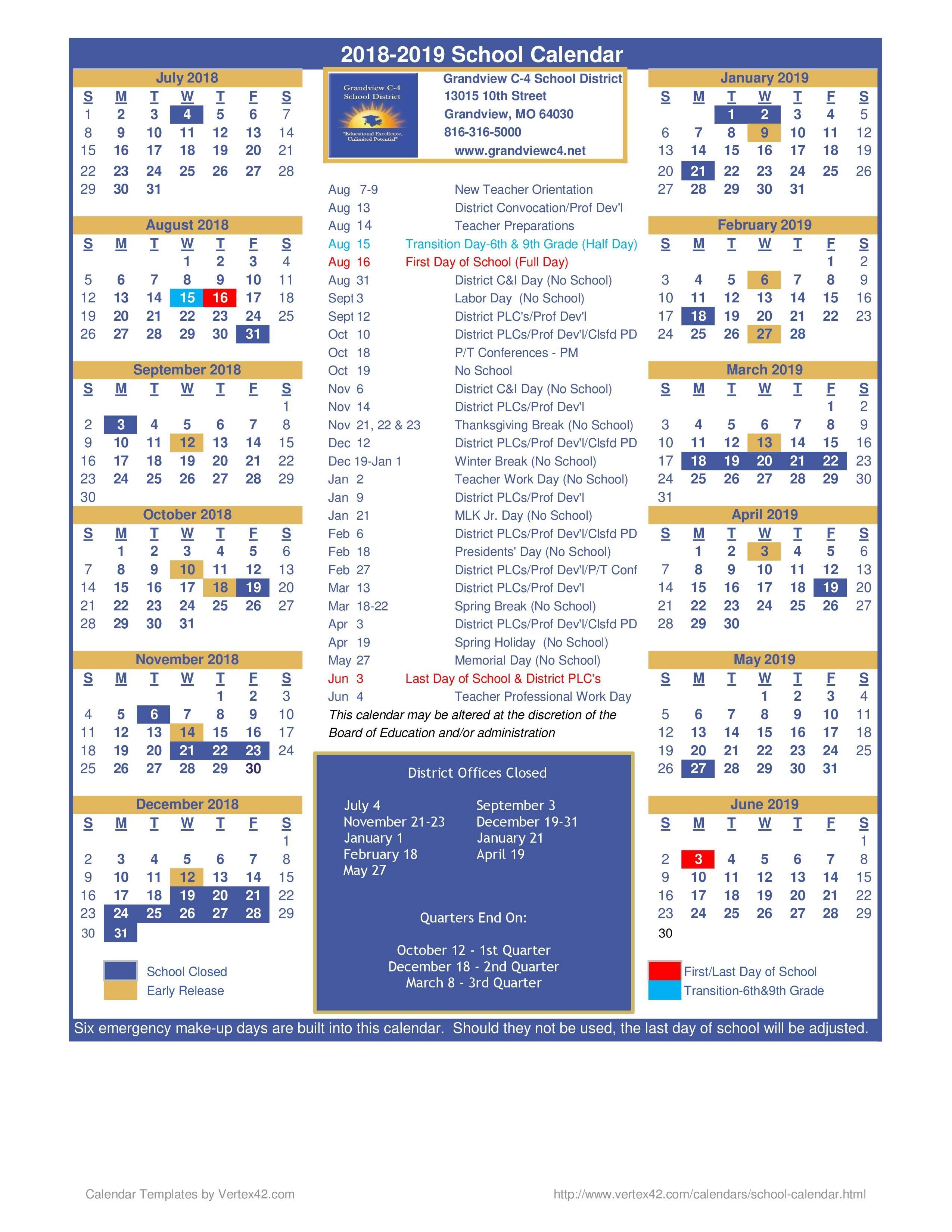 Calendario Escolar 2019 Kinder Más Recientes District Calendar – District Calendar – Grandview C 4 School District Of Calendario Escolar 2019 Kinder Más Reciente 2018 2019 School Year Calendar Upper Canada District School Board