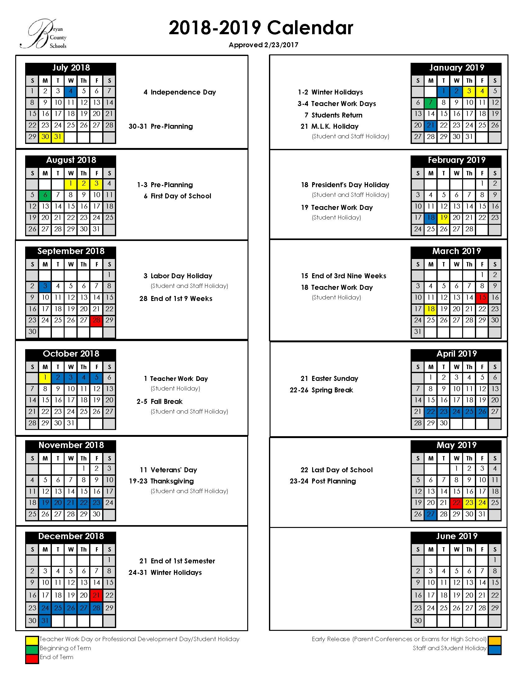 Calendario Escolar 2019 Word Más Recientes Bryan County Schools