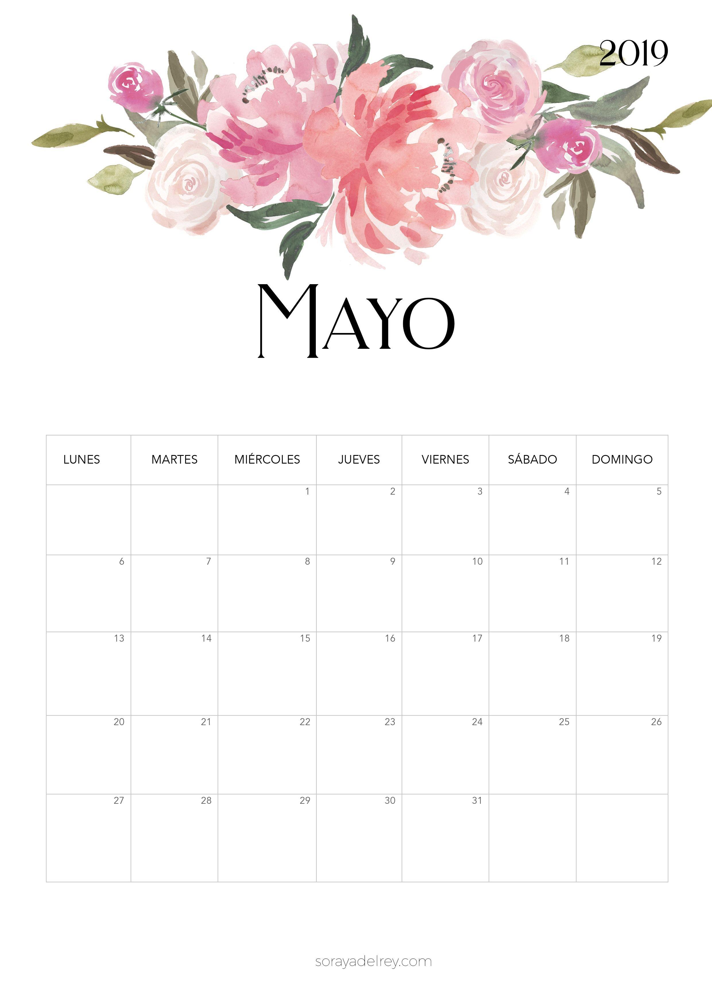Calendario para imprimir Mayo 2019 calendario calendar mayo may freebie