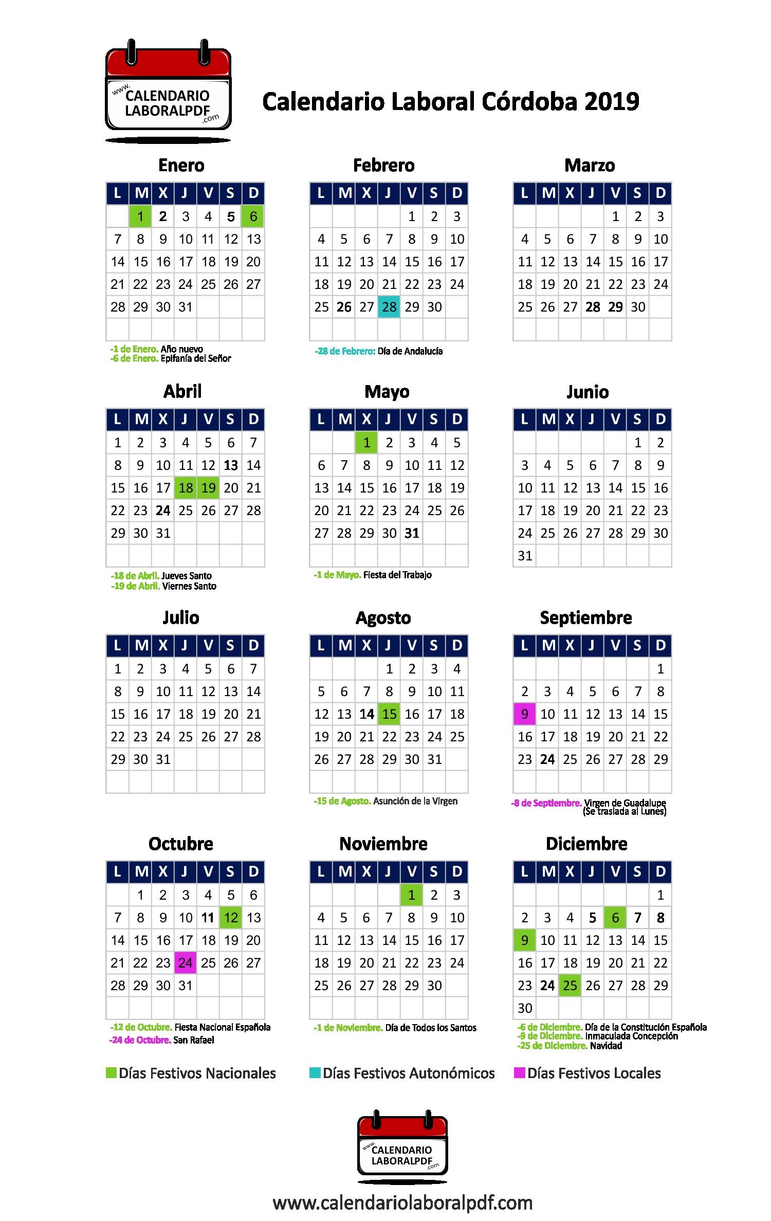 """Calendario Festivos 2019 Granada Más Populares Calendario Laboral C""""rdoba 2019 ▷ ¡descárgalo Gratis Of Calendario Festivos 2019 Granada Más Reciente Sin Categora Puerto Sherry"""