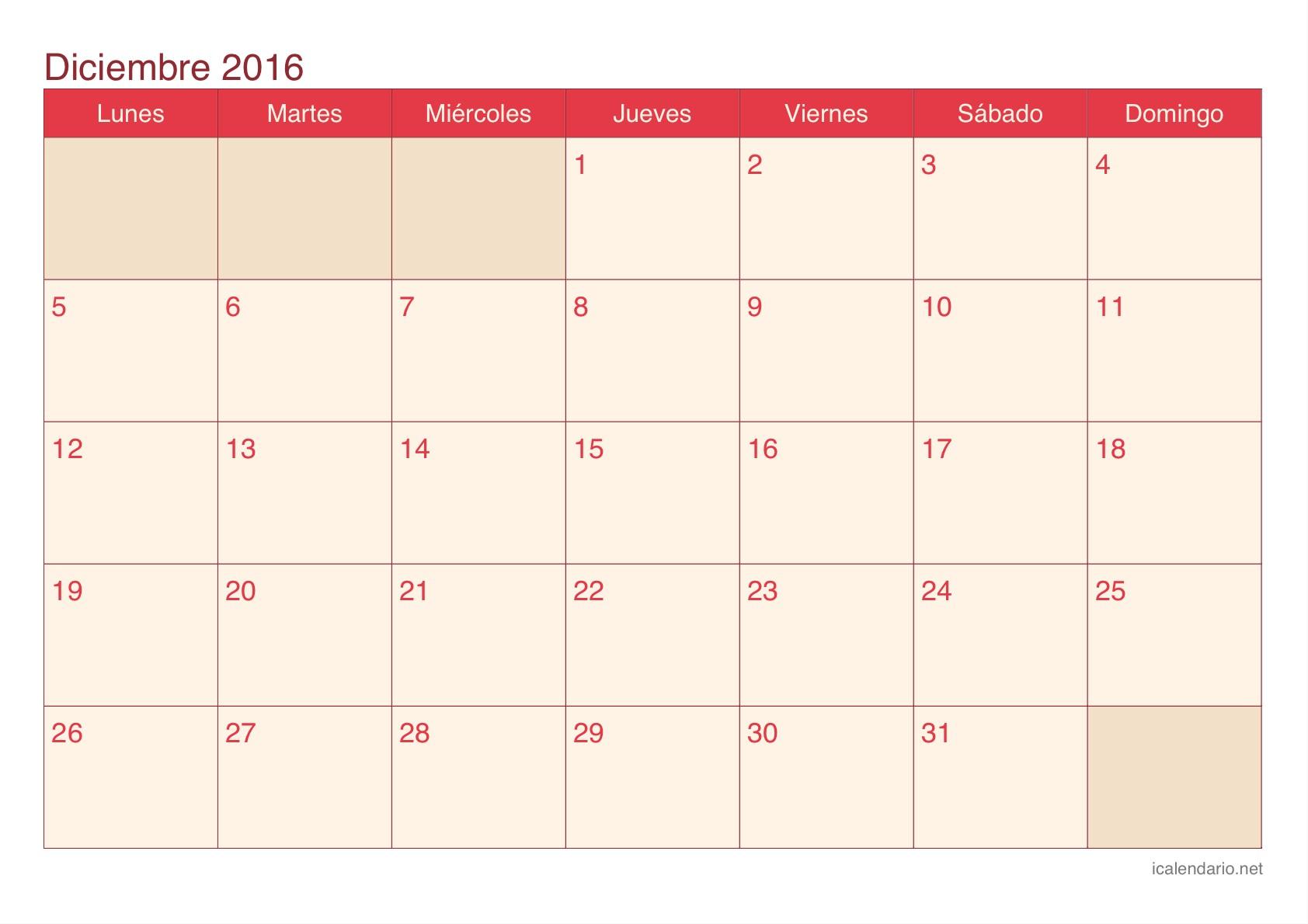 Calendario de diciembre 2016 cherry Calendario de diciembre 2016 cherry