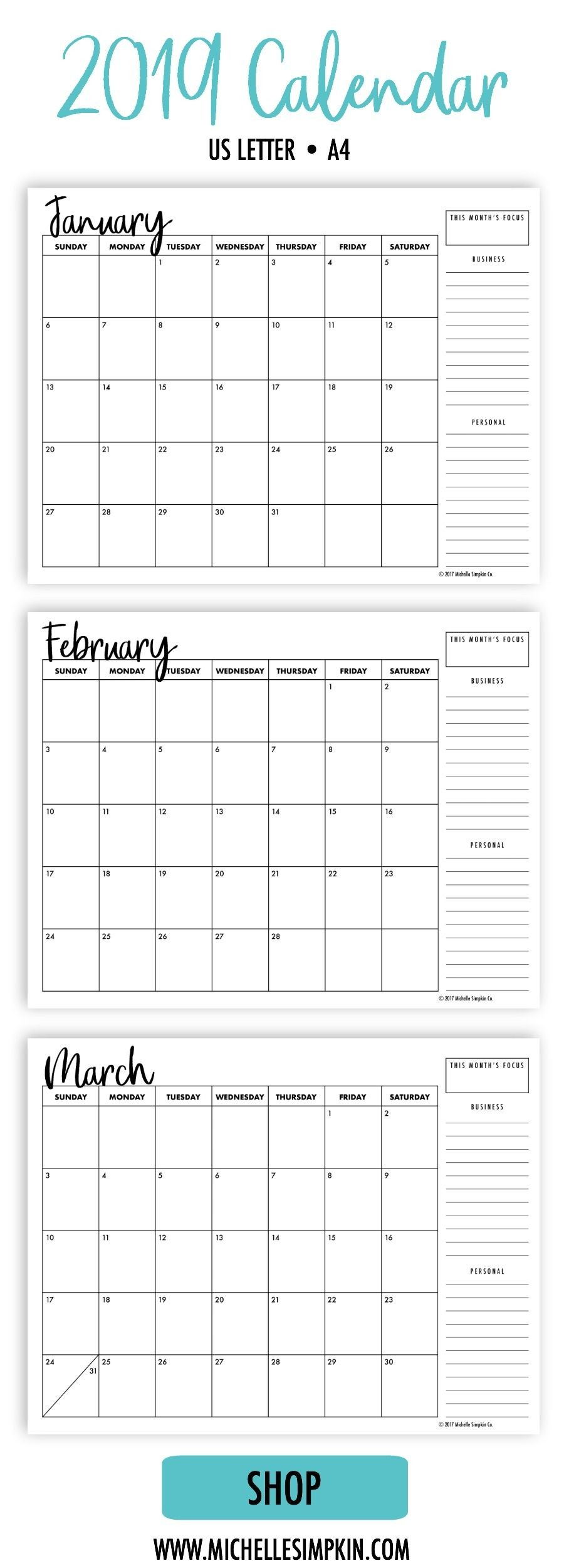 2019 Calendar A simple minimalist design to help you organize your life and business Includes both Monday and Sunday starts