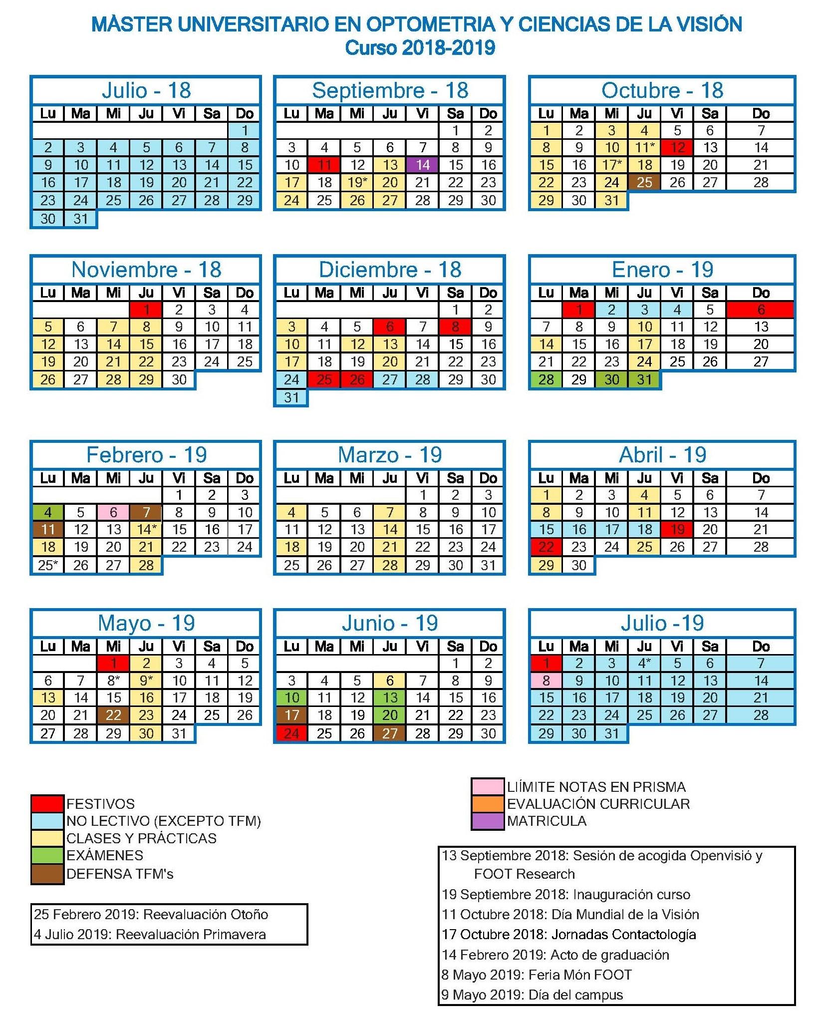 Calendario MUOCV 2018 2019
