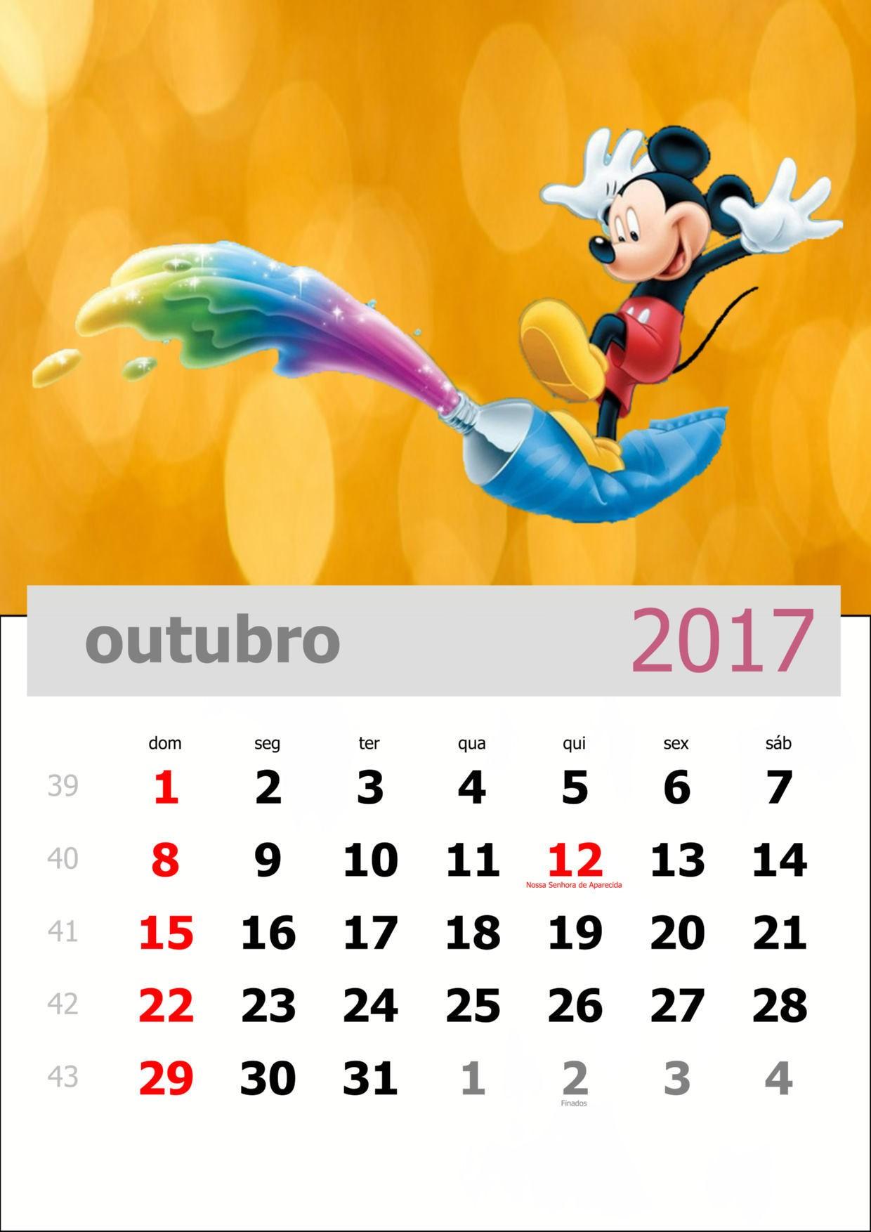calendario mickey 2017 outubro
