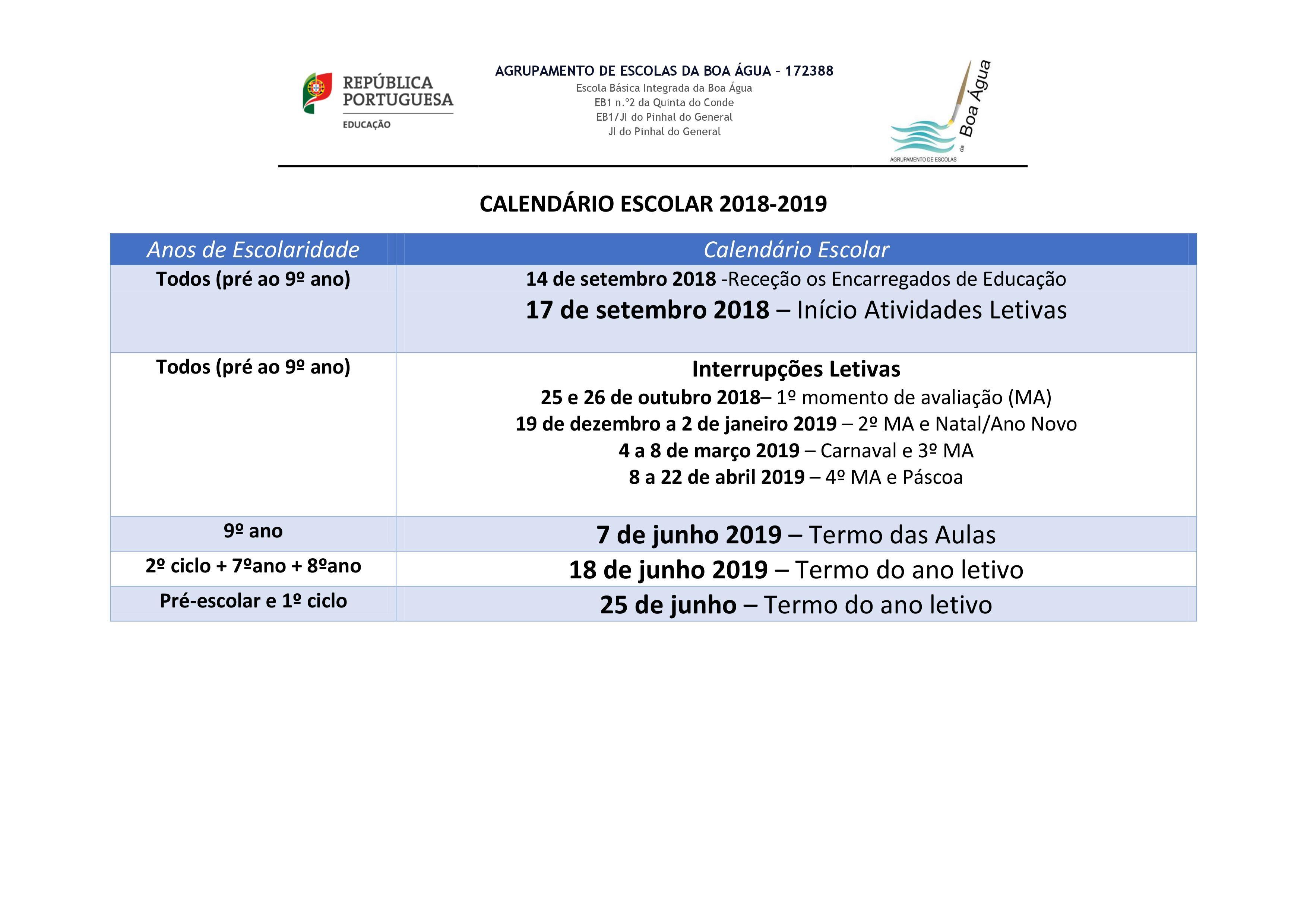 Calendário escolar 2018 19