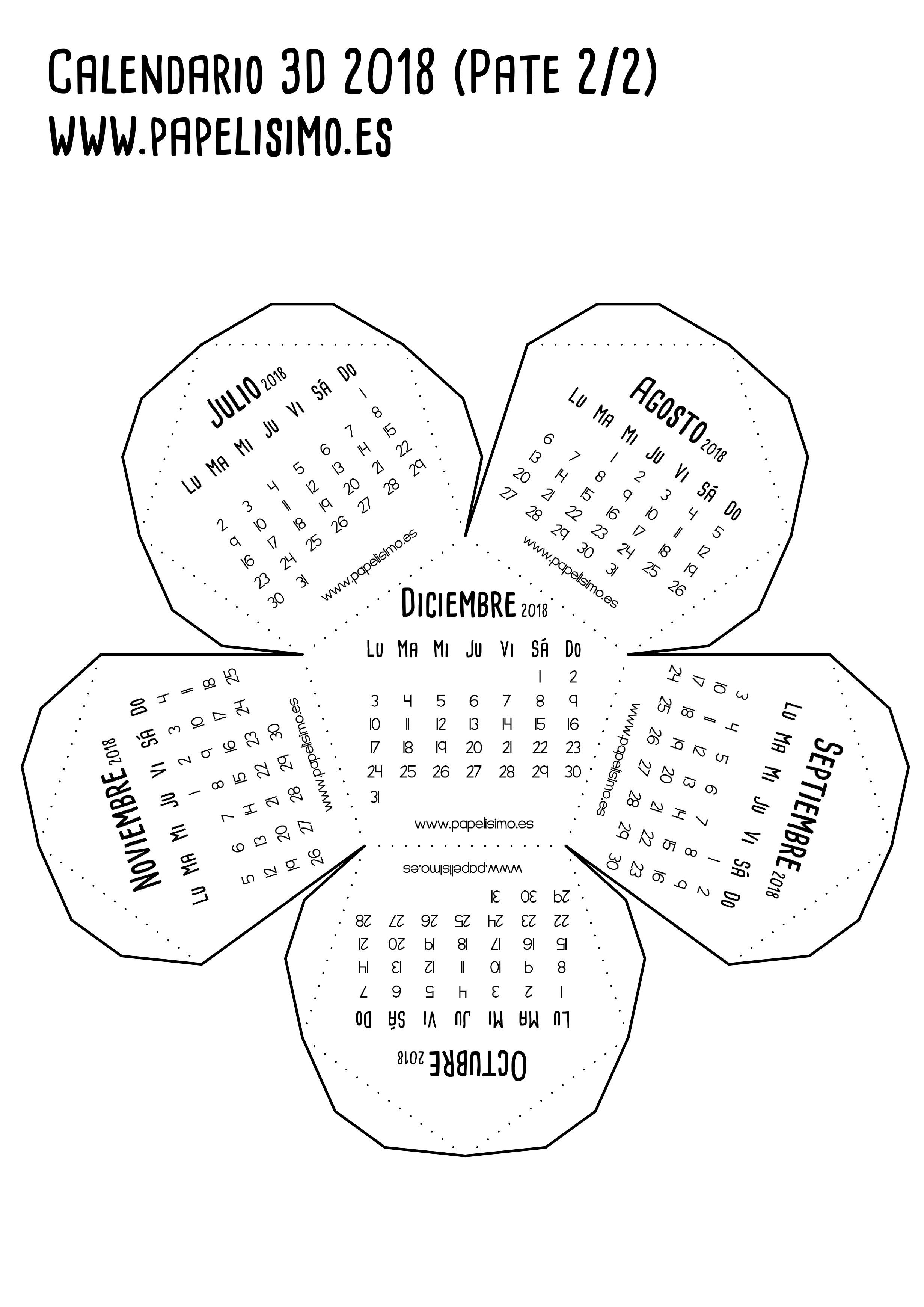Calendario 3d 2018 pdf para imprimir Parte 2