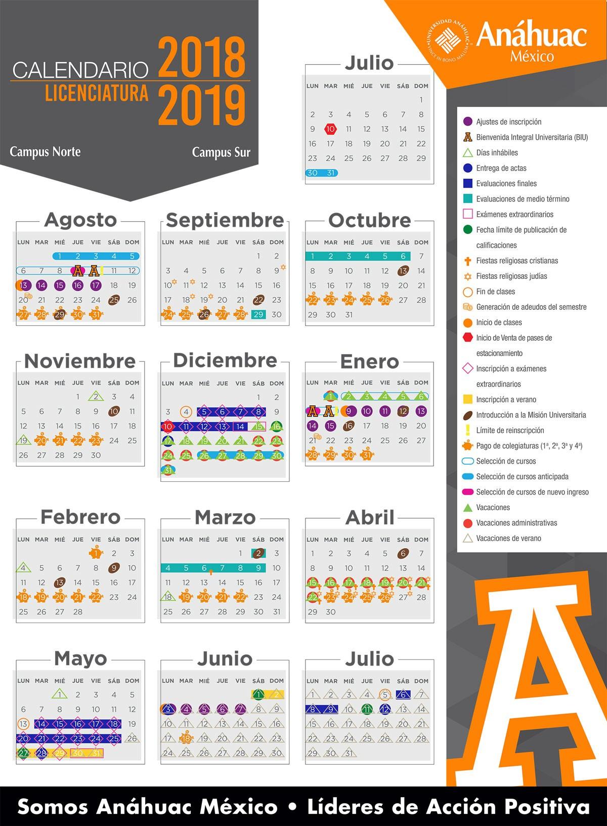 Calendario Licenciatura julio 2018 agosto 2019
