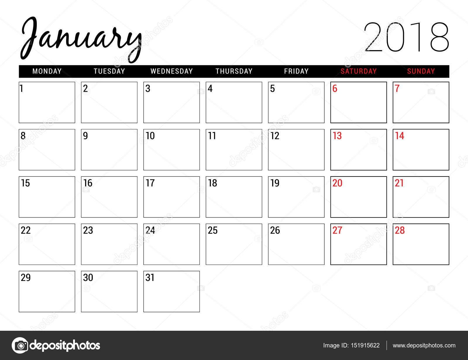 Calendario Imprimir Semanas Más Recientes Enero De 2018 Plantilla De Dise±o De Calendario Para Imprimir