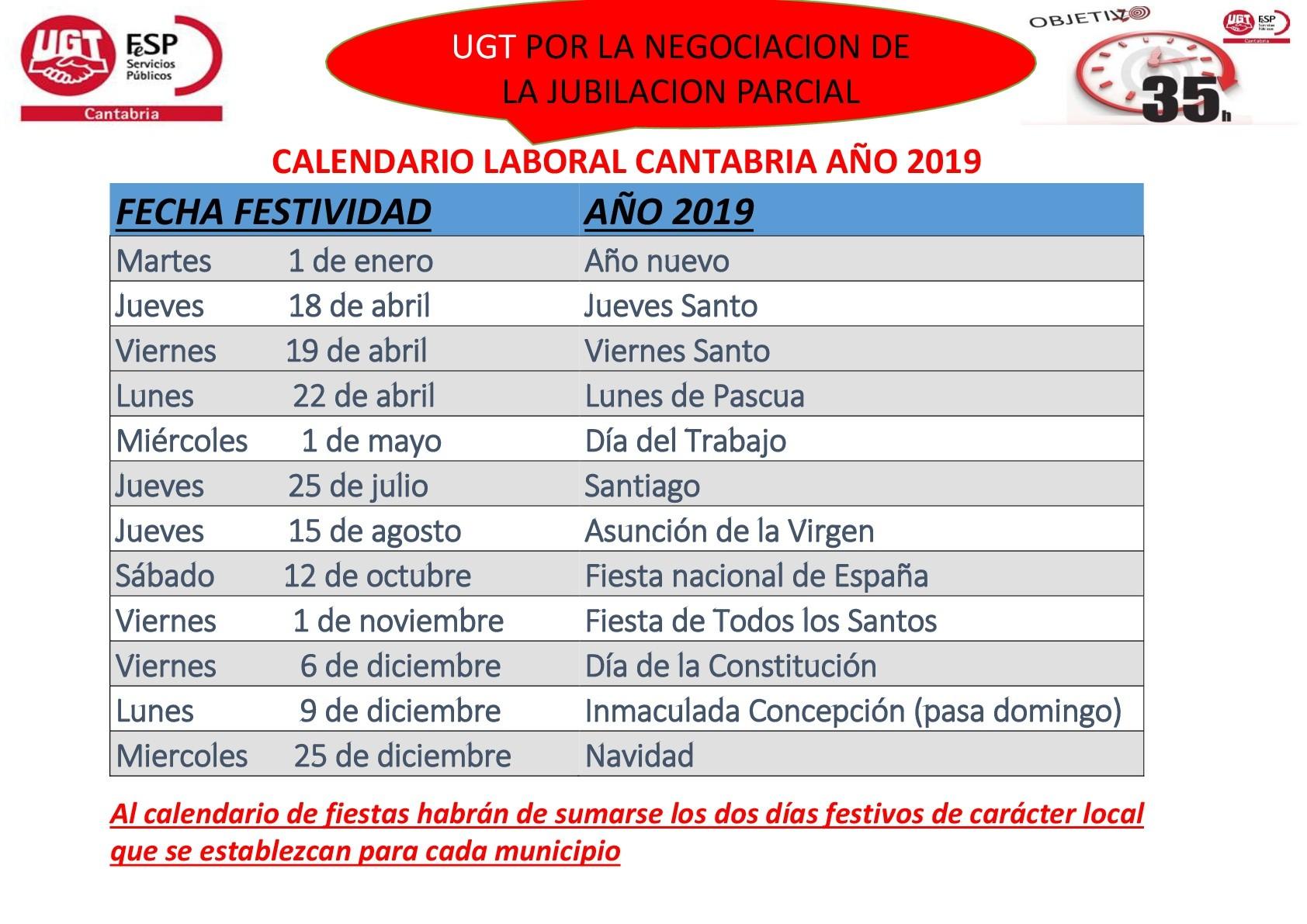 CALENDARIO LABORAL CANTABRIA A'O 2019 001 1