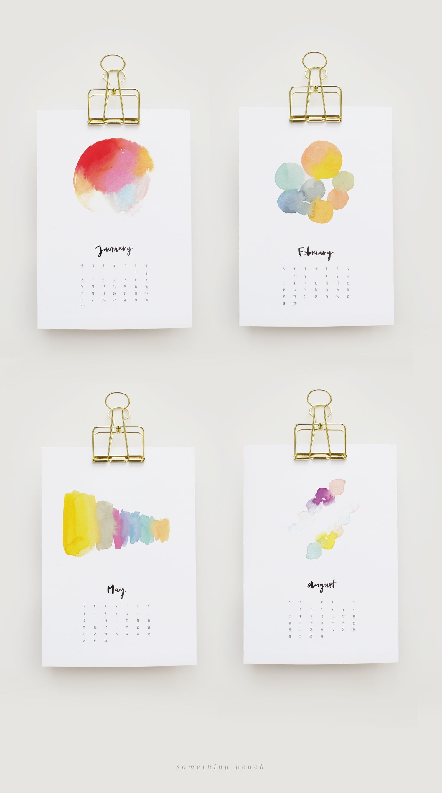 somethingpeach free printable 2016 watercolour calendar 03 Free Printable Calendar 2016 2016 Calender