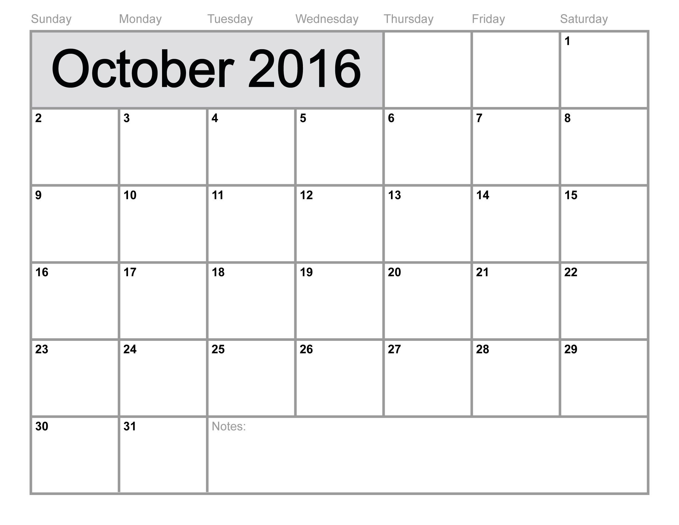 October 2016 Calendar Printable Template 8 Templates
