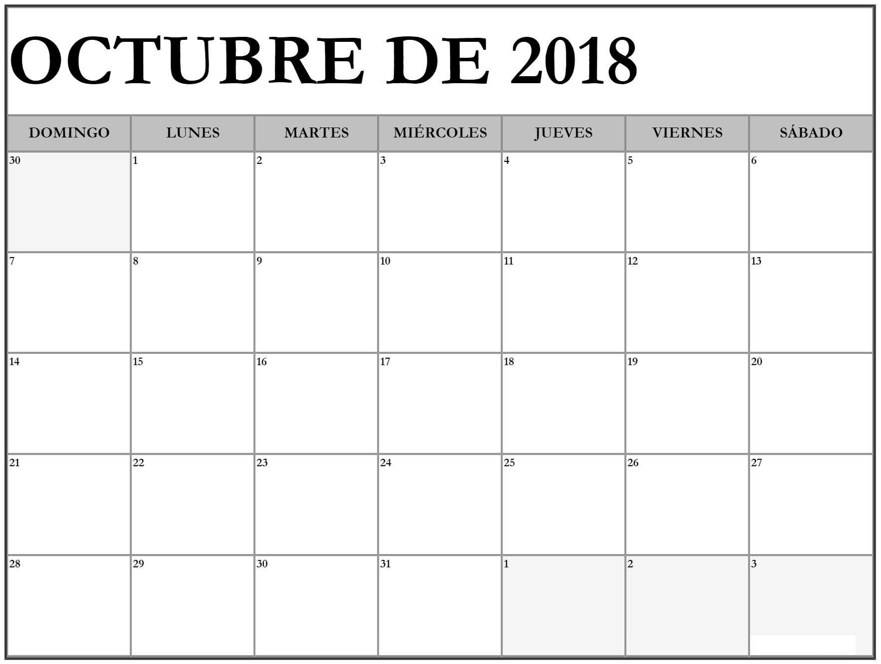 Calendario Para Imprimir 2019 En Word Más Arriba-a-fecha Calendario Octubre 2018 Para Imprimir