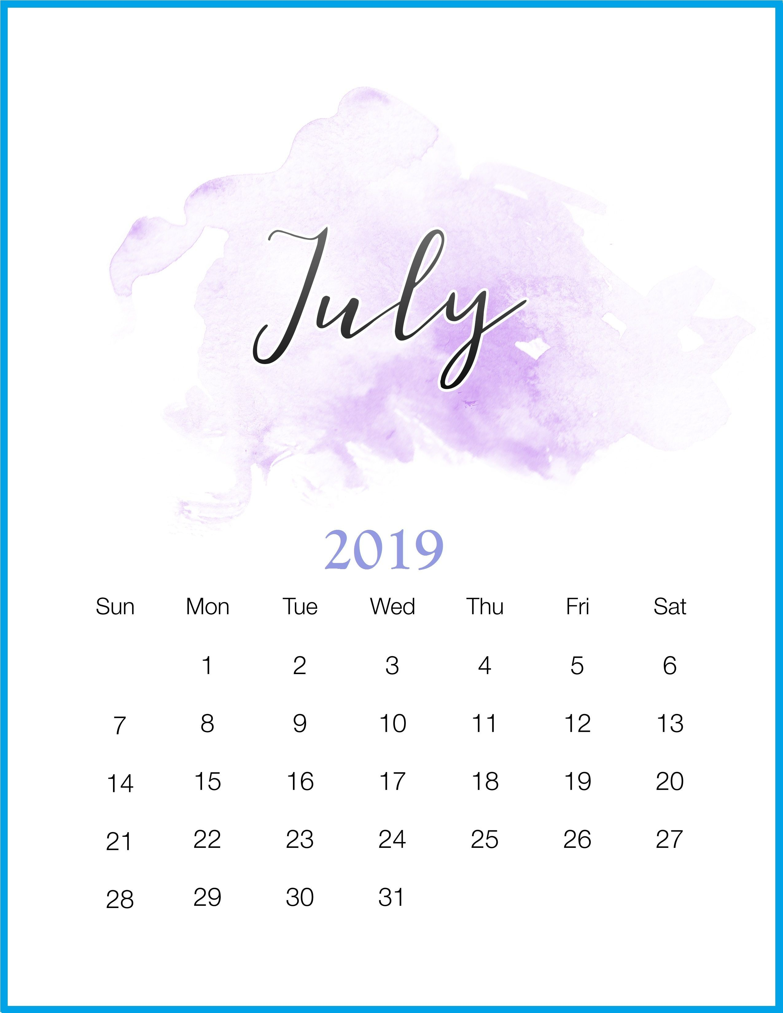 Watercolor 2019 July Printable Calendar