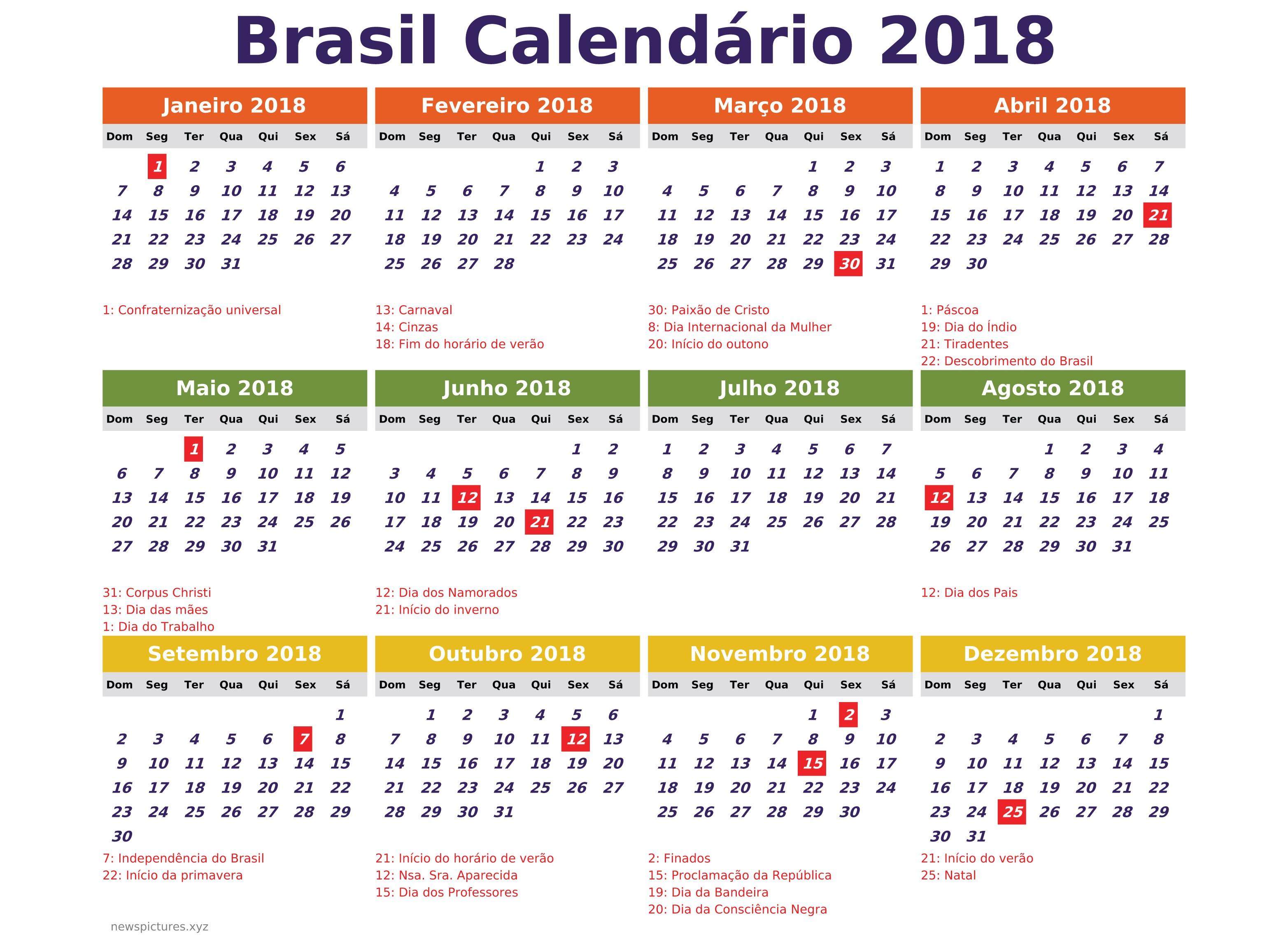 cool calendario para imprimir feriados