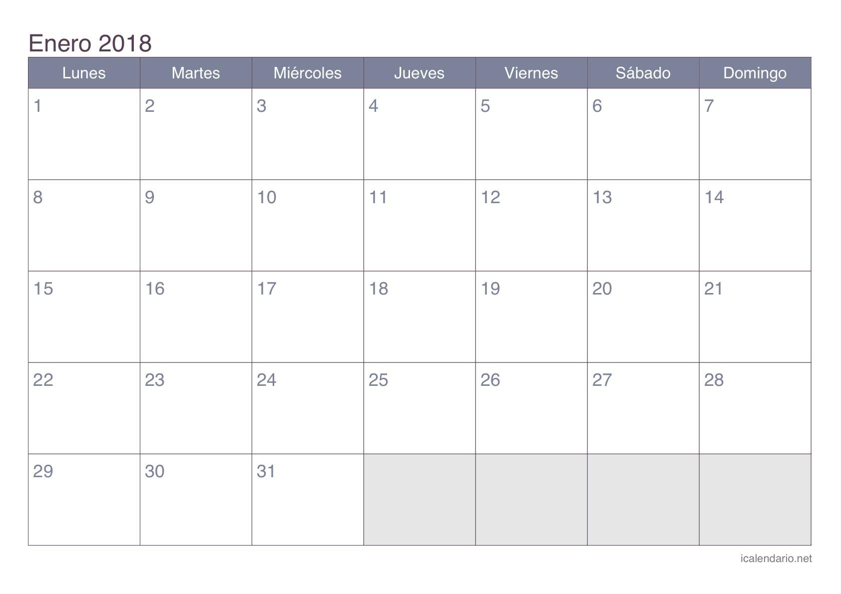 Enero 2018 calendario