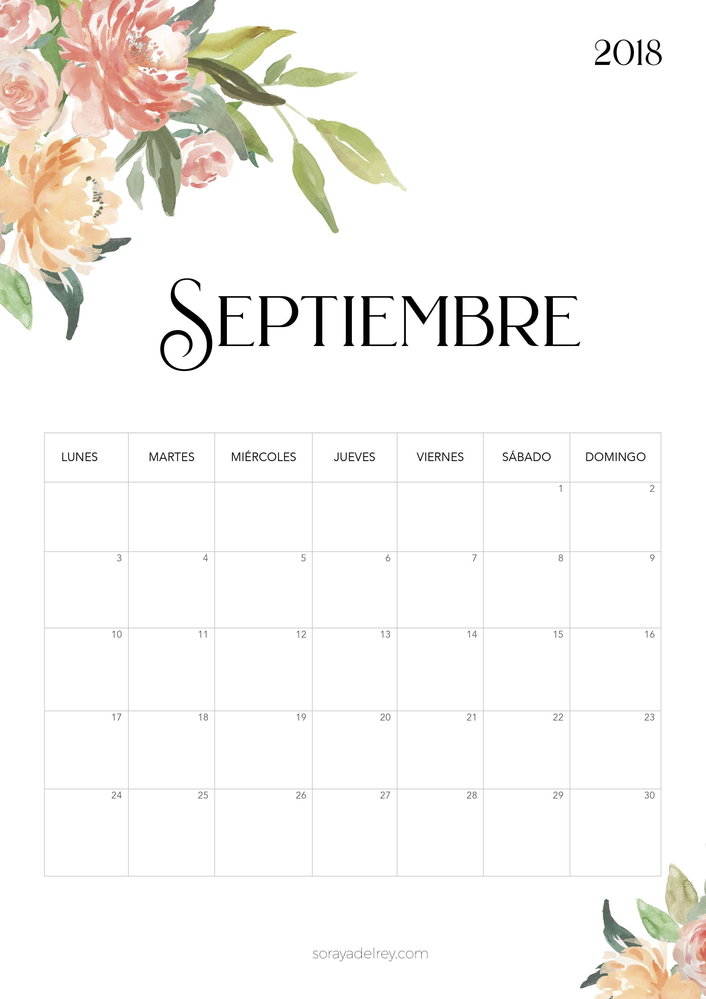 Calendario para imprimir septiembre 2018 freebie calendario calendar septiembre flowers