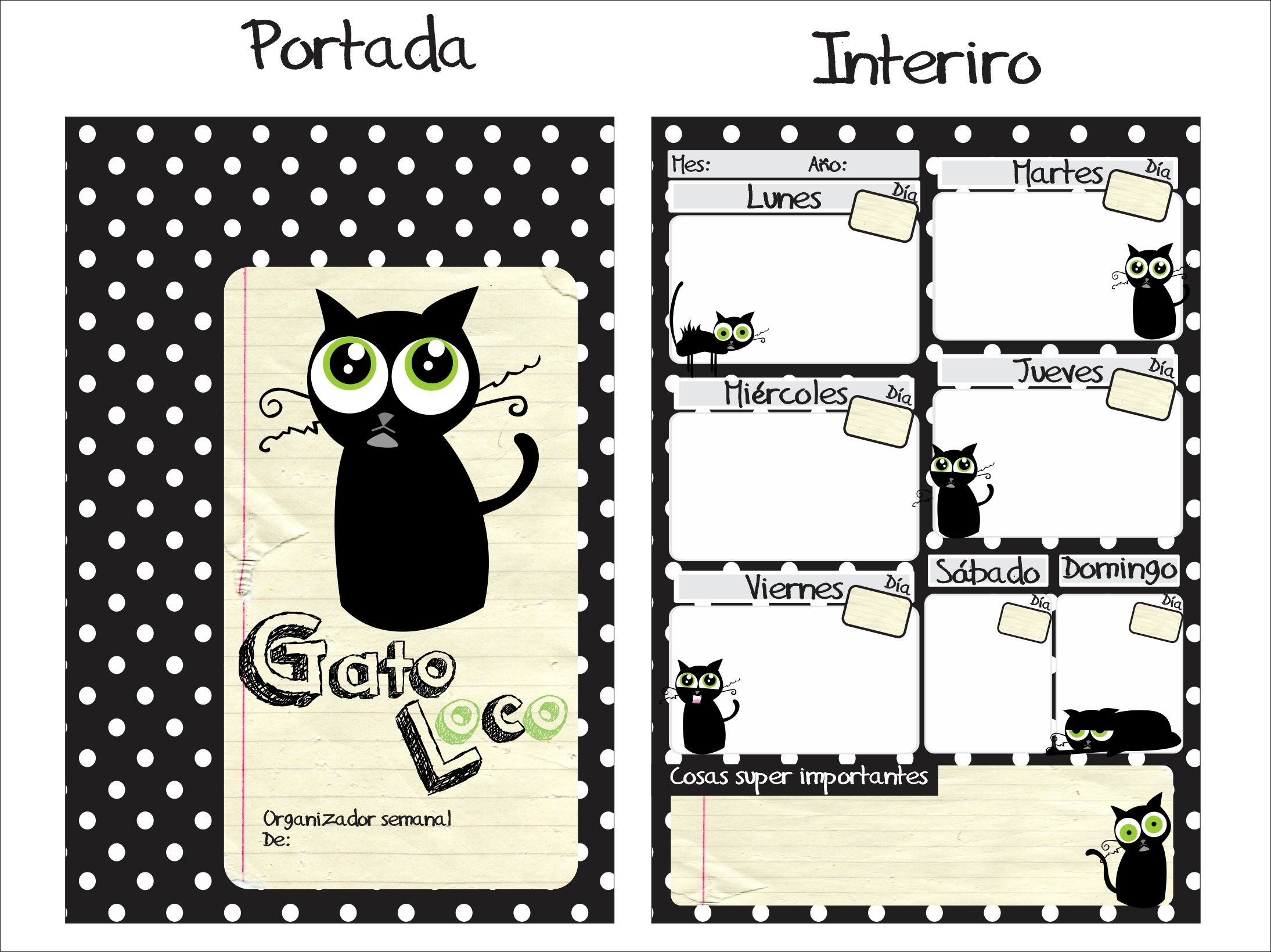 Calendario Semanal Para Imprimir Más Caliente organizador Semanal Gato Loco Imprimibles En Espa±ol