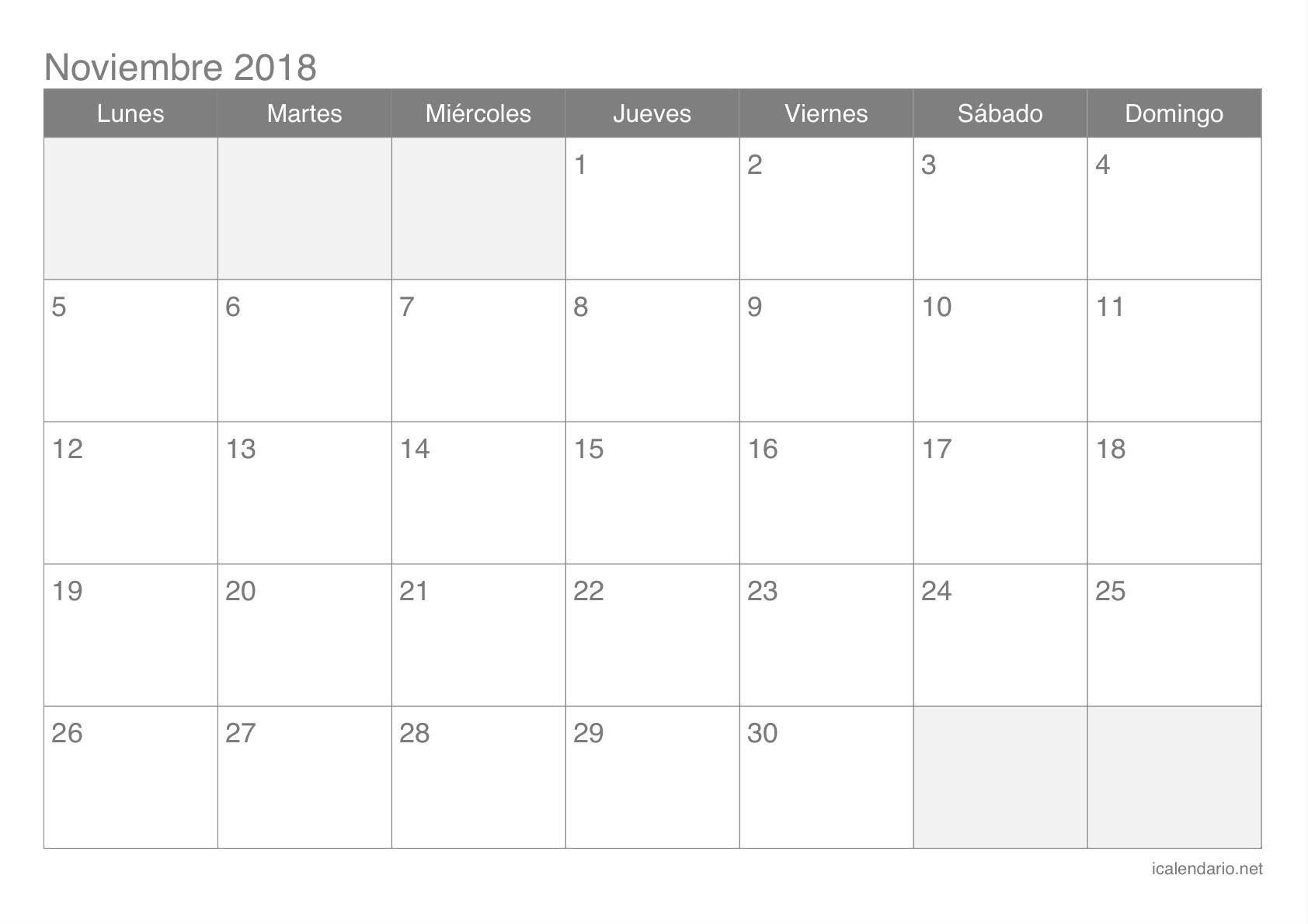 Calendario de noviembre 2018 Calendario de noviembre 2018