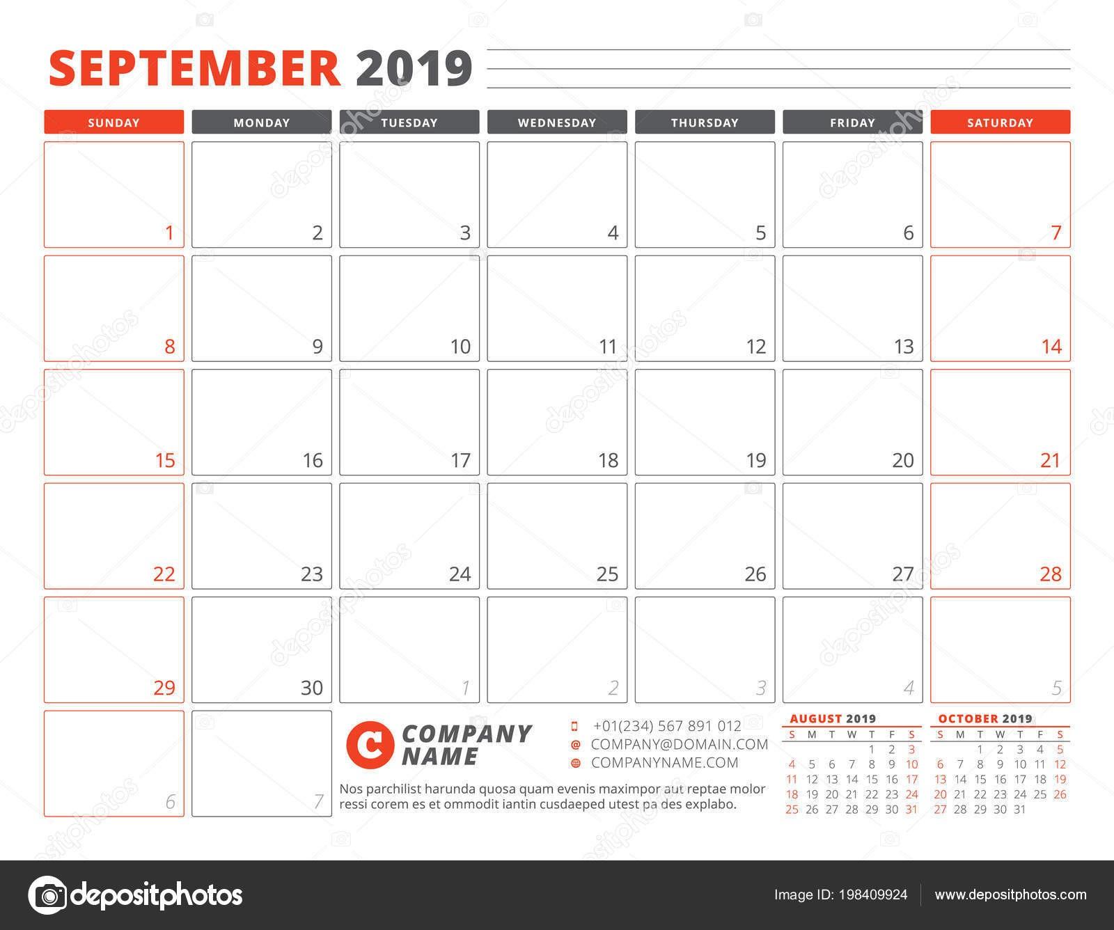 Plantilla Calendario Para Septiembre 2019 Plantilla Planificador Negocios Dise±o Papelera — Vector de stock