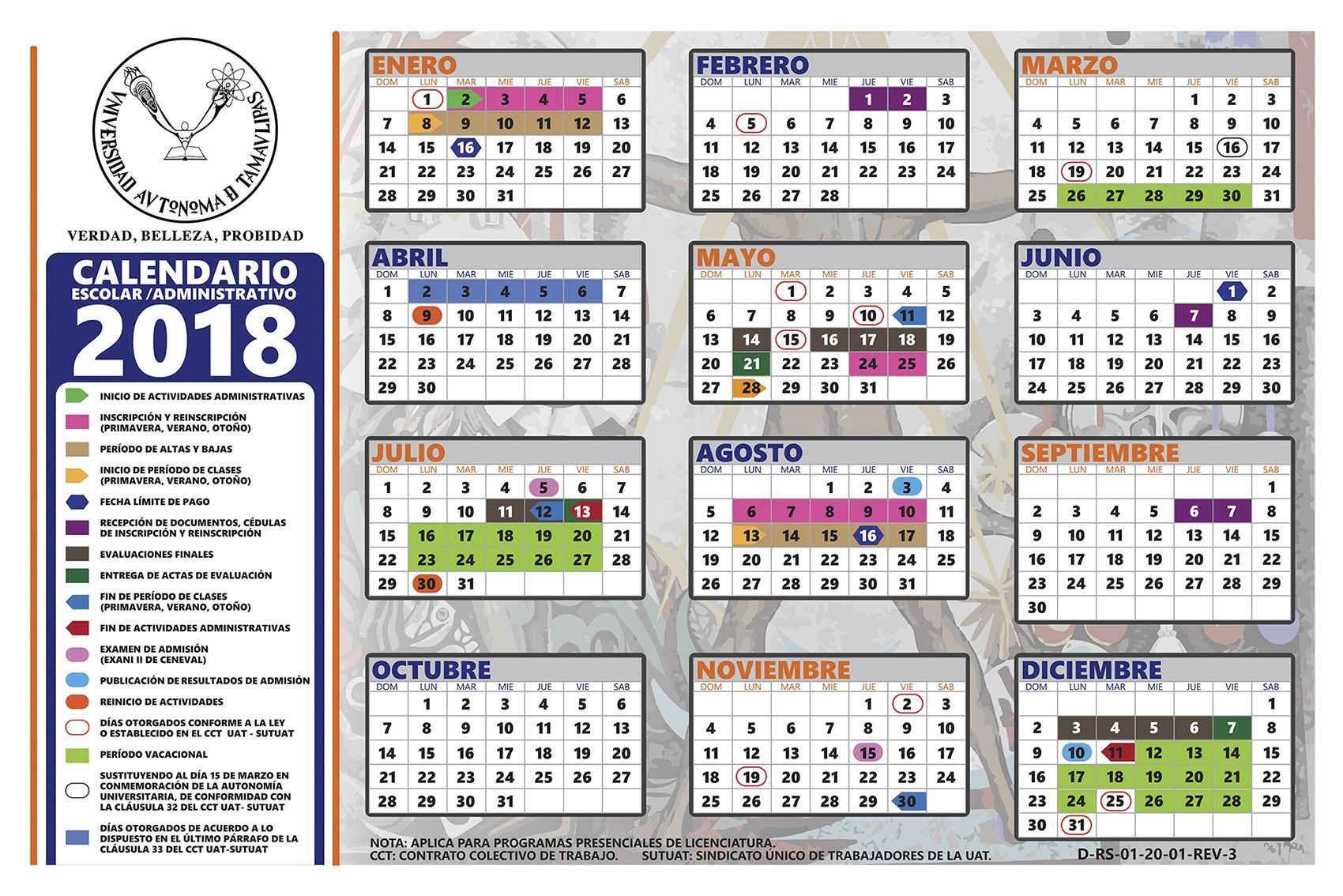 Calendario Escolar Administrativo 2018 · Calendario Escolar Administrativo 2019