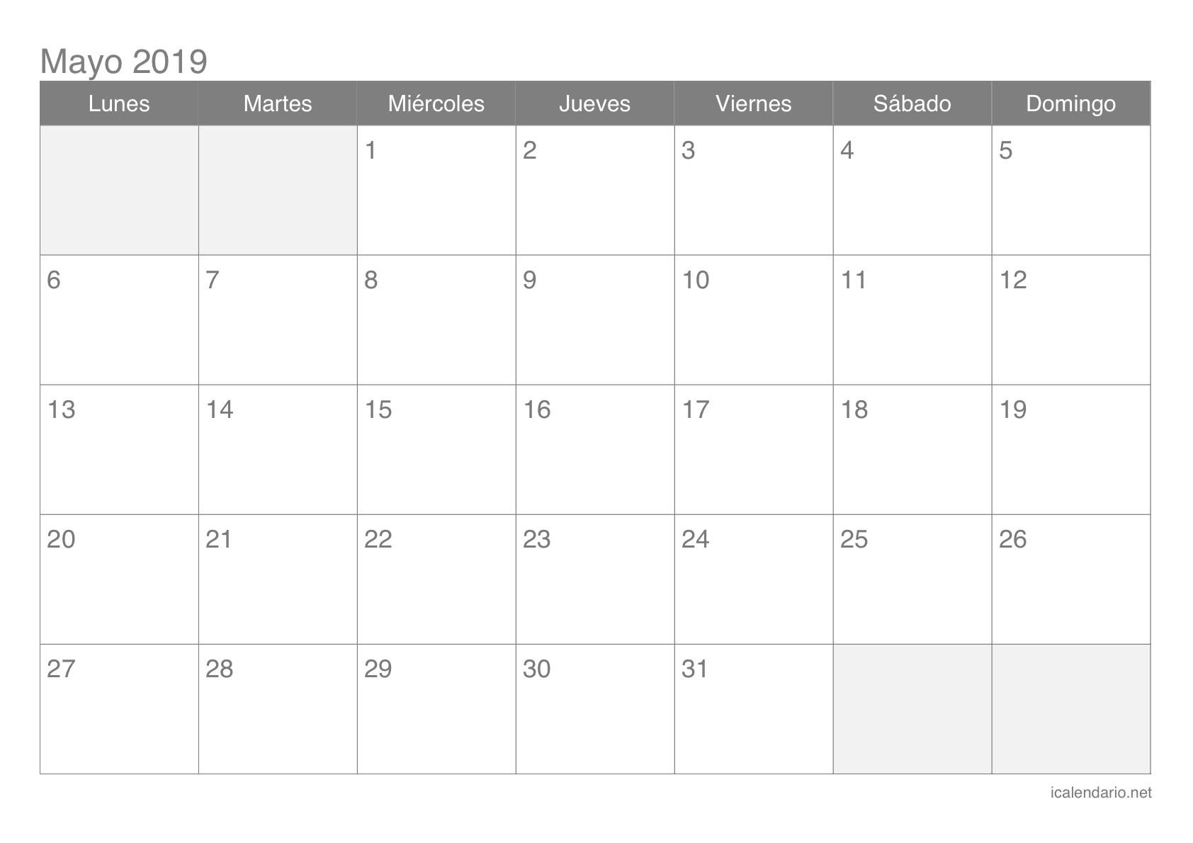 Calendario de mayo 2019 Calendario de mayo 2019