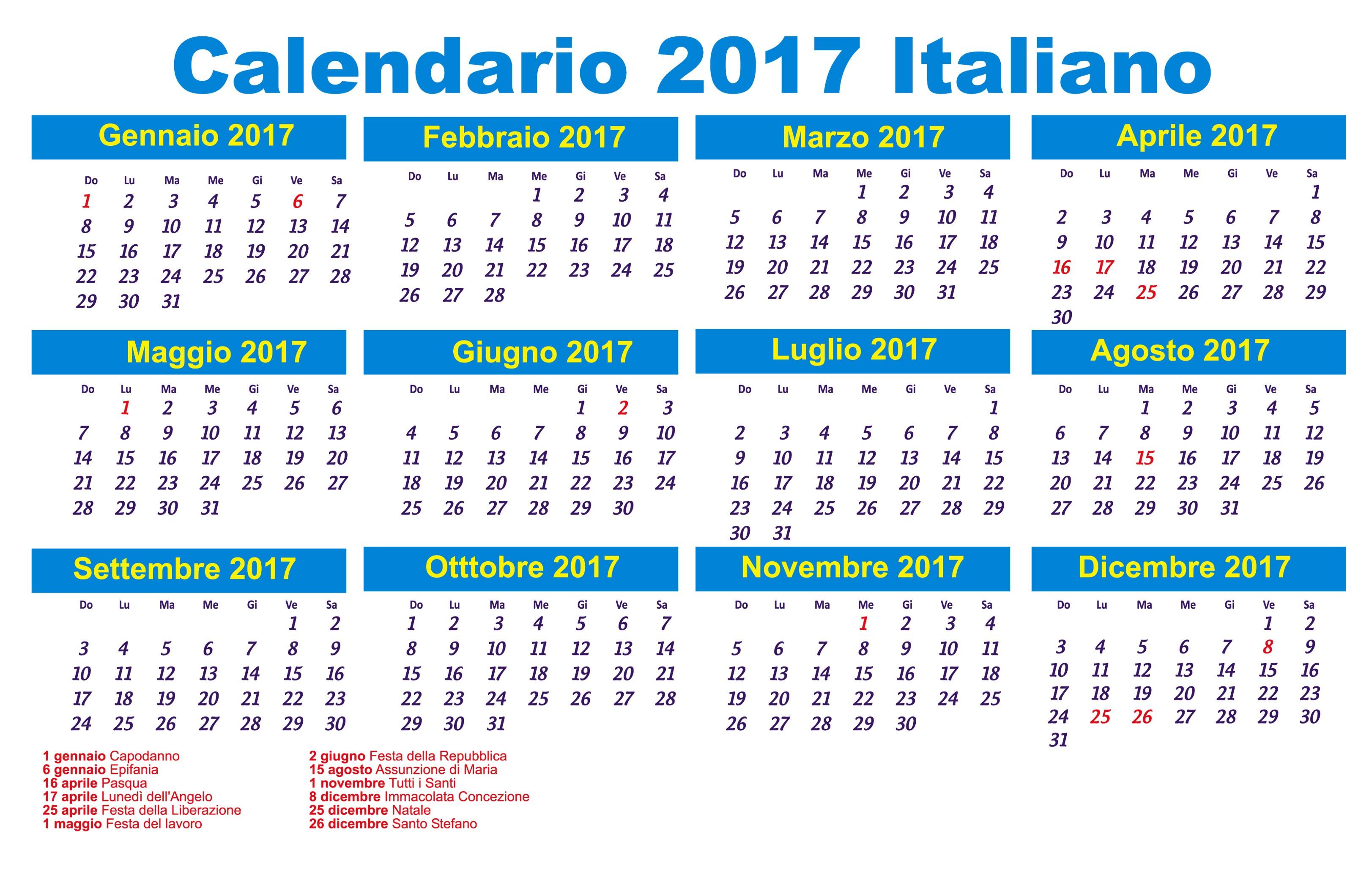 calendario 2017 italiano con festivit