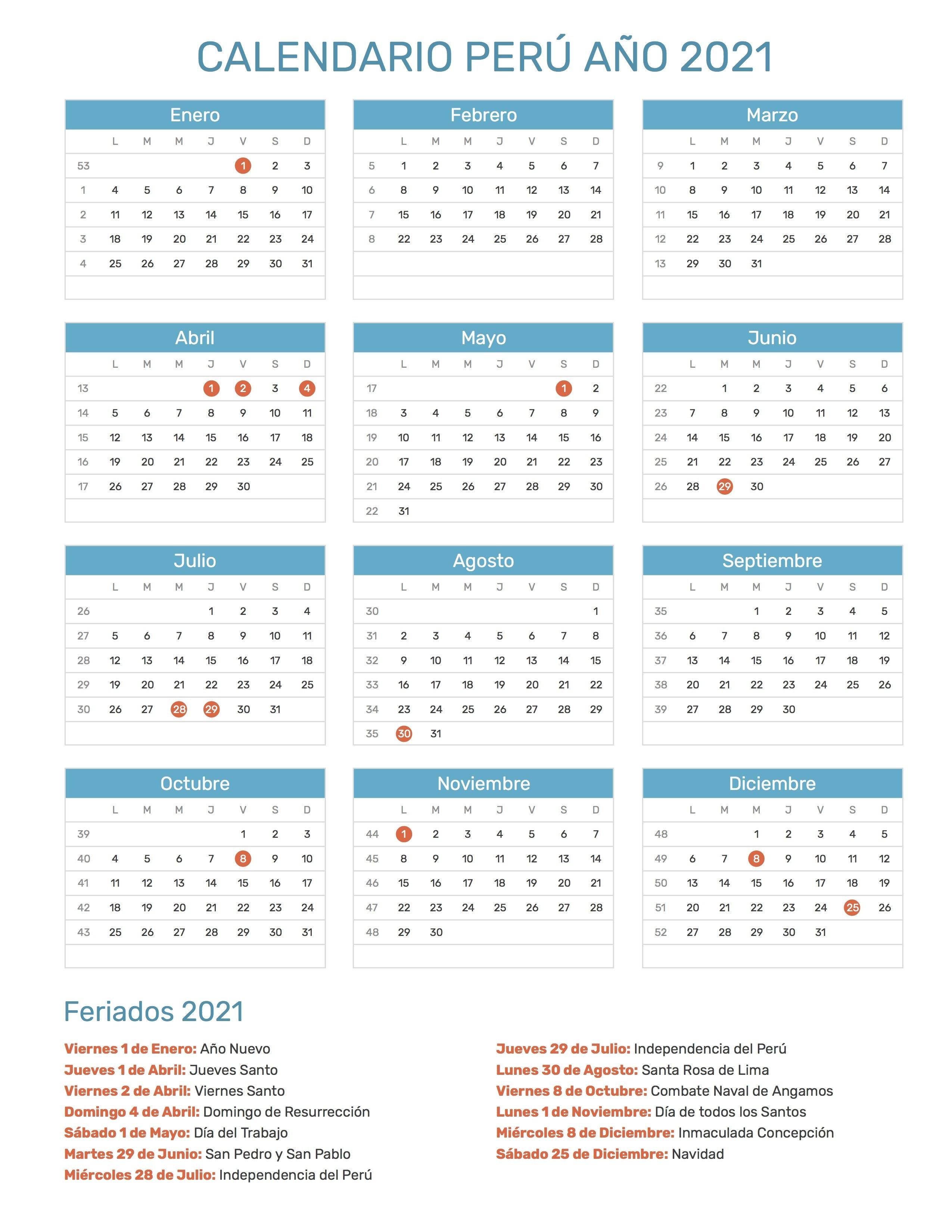 Pin by Calendario Hispano on Calendario con feriados a±o 2021