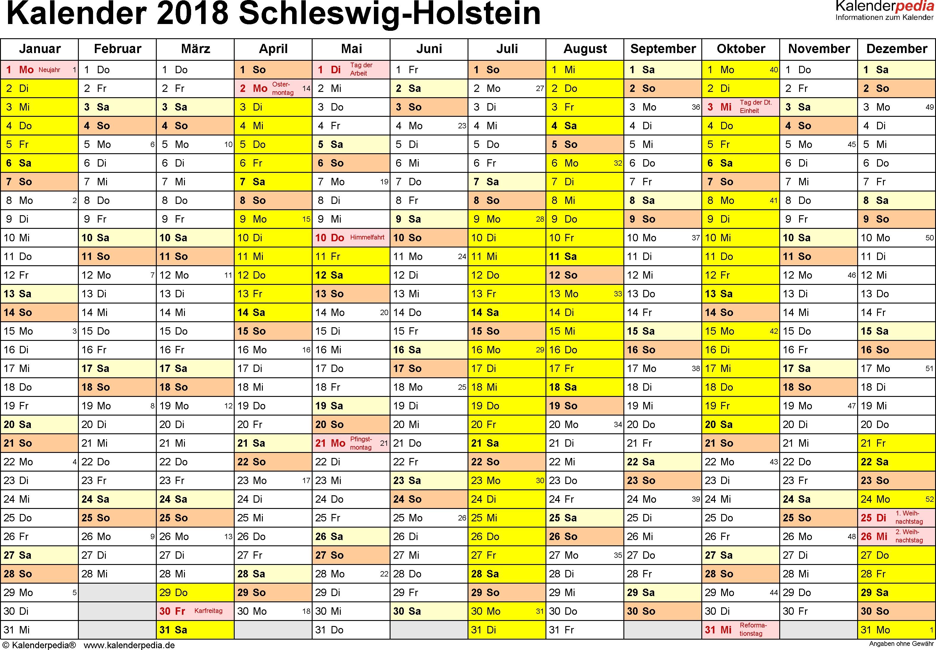 Vorlage 1 Kalender 2018 für Schleswig Holstein als PDF Vorlagen Querformat