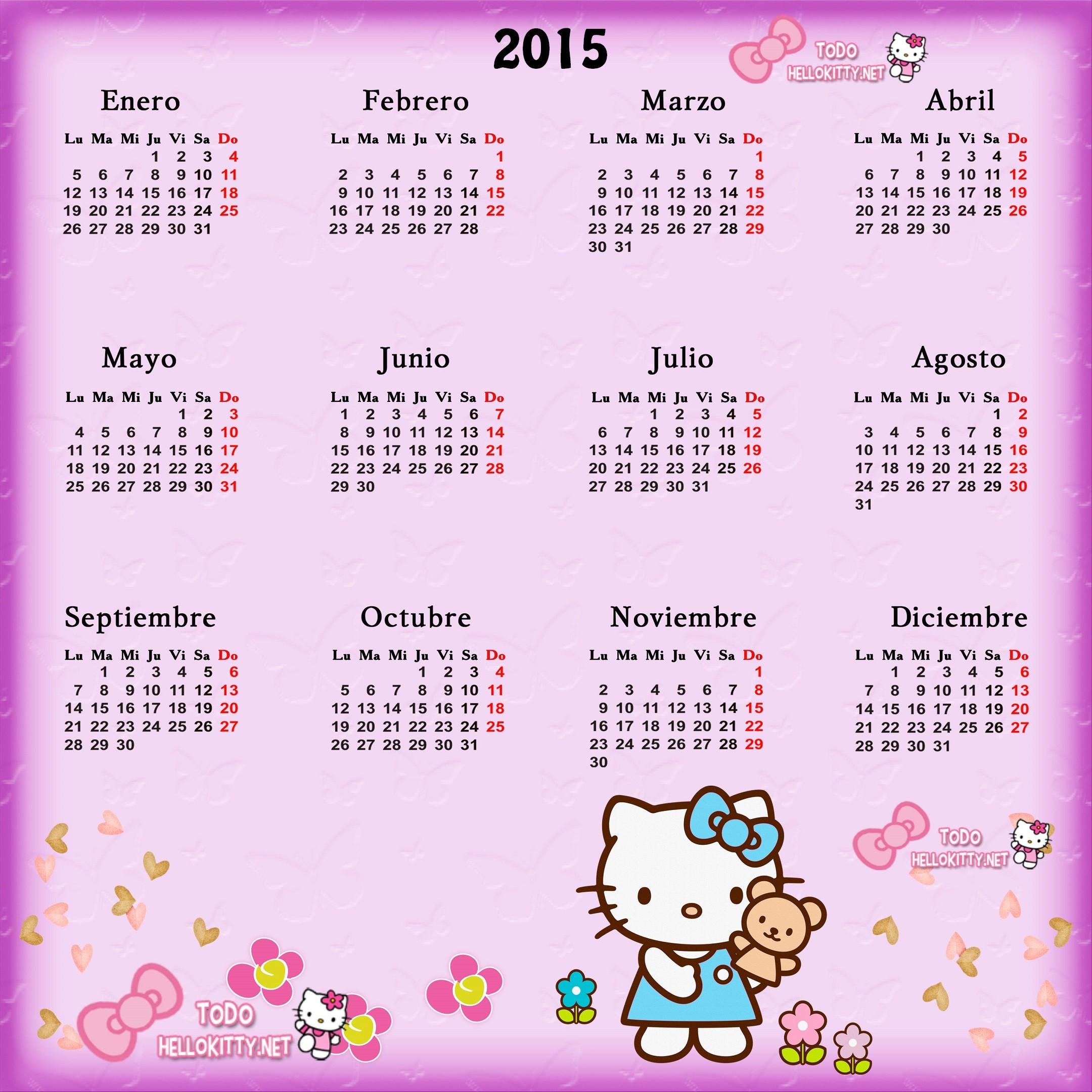 calendario 2015 de hello kitty