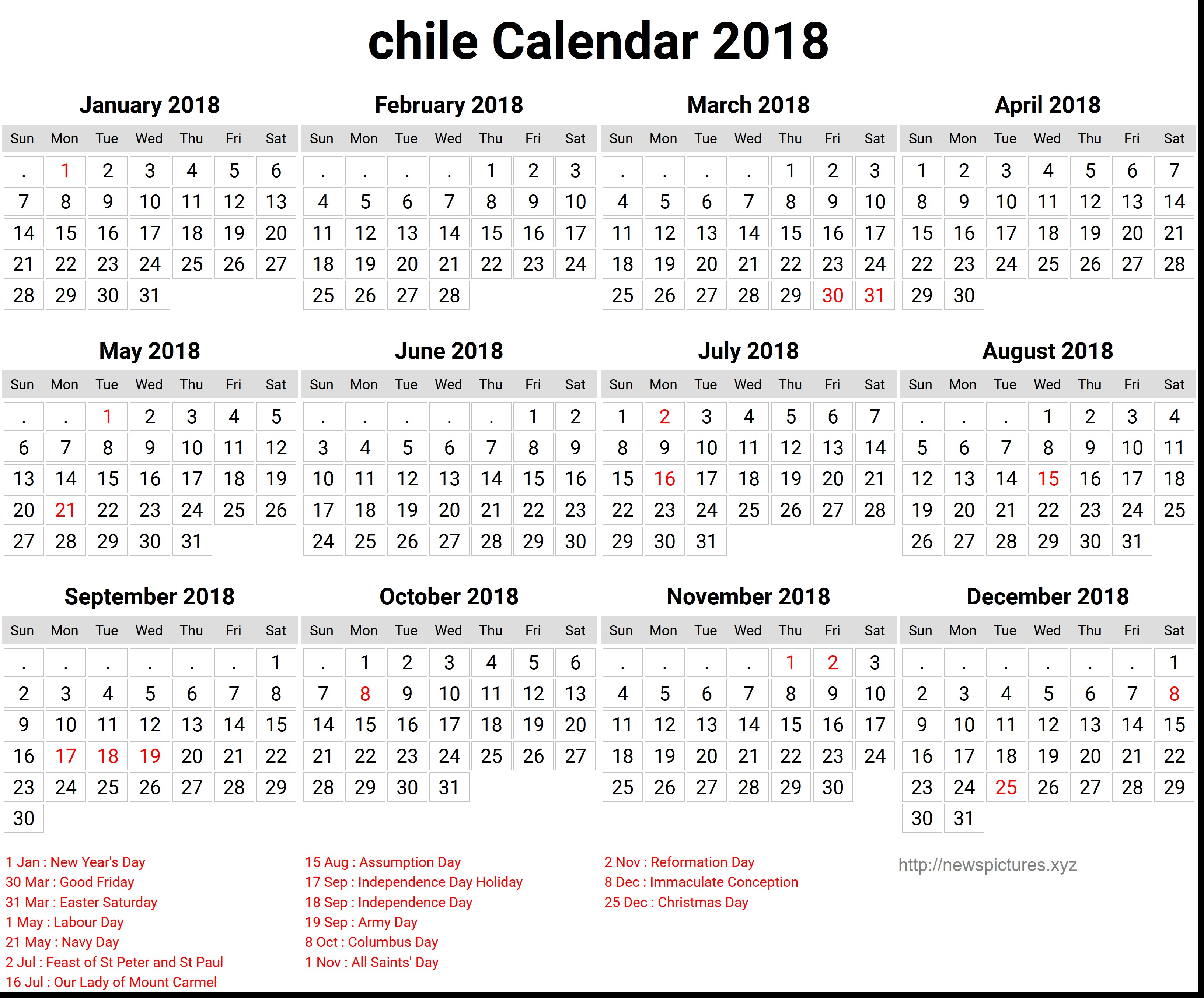 Calendario mensual para imprimir a±o 2018