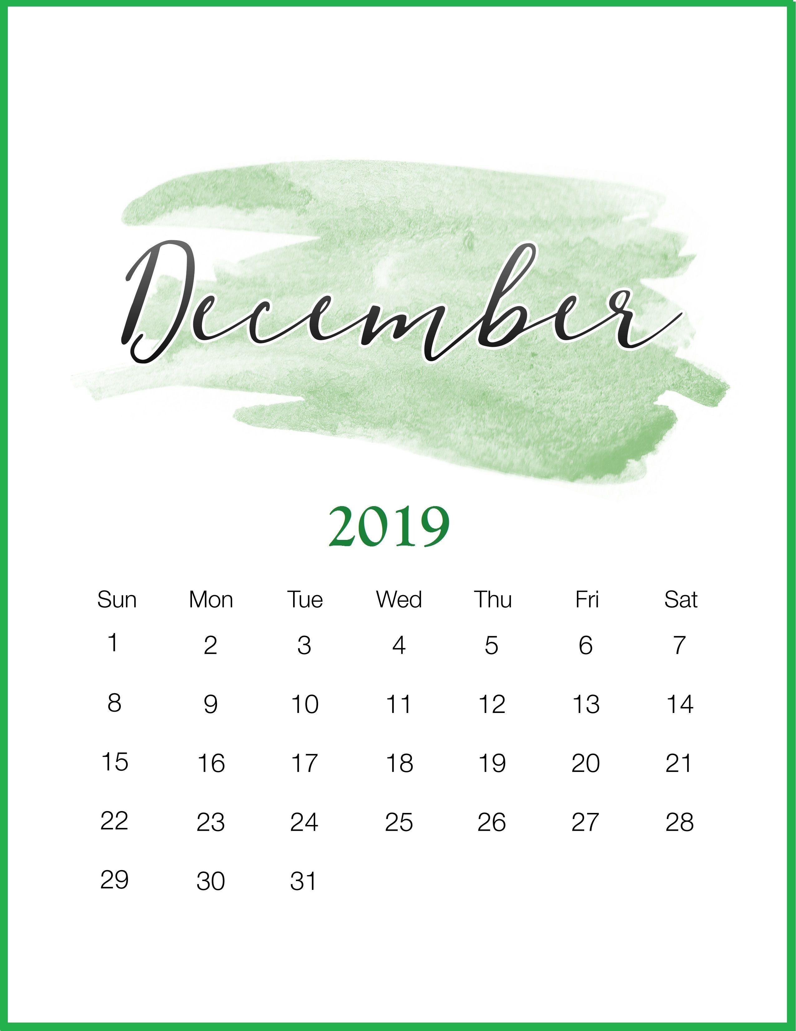 Watercolor 2019 December Printable Calendar December Calendar Diy Calendar 2019 Calendar Print Calendar