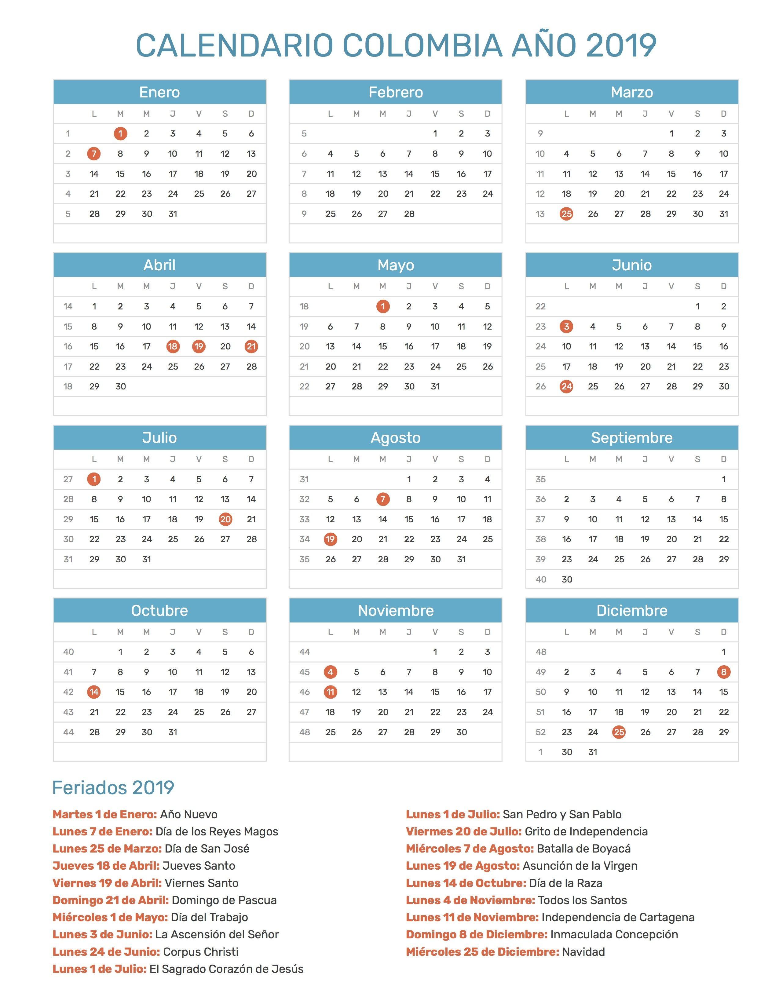 Calendario de Colombia con feriados nacionales a±o 2019 Incluye versi³n para imprimir en formato JPG