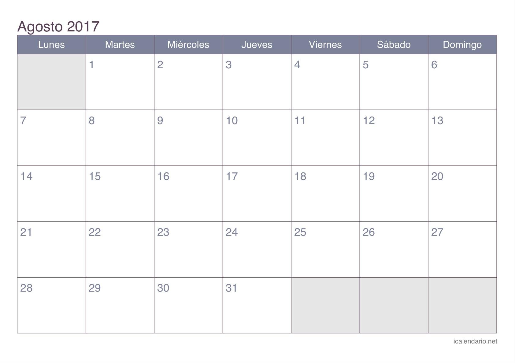 Resultado de imagen para calendario agosto 2017