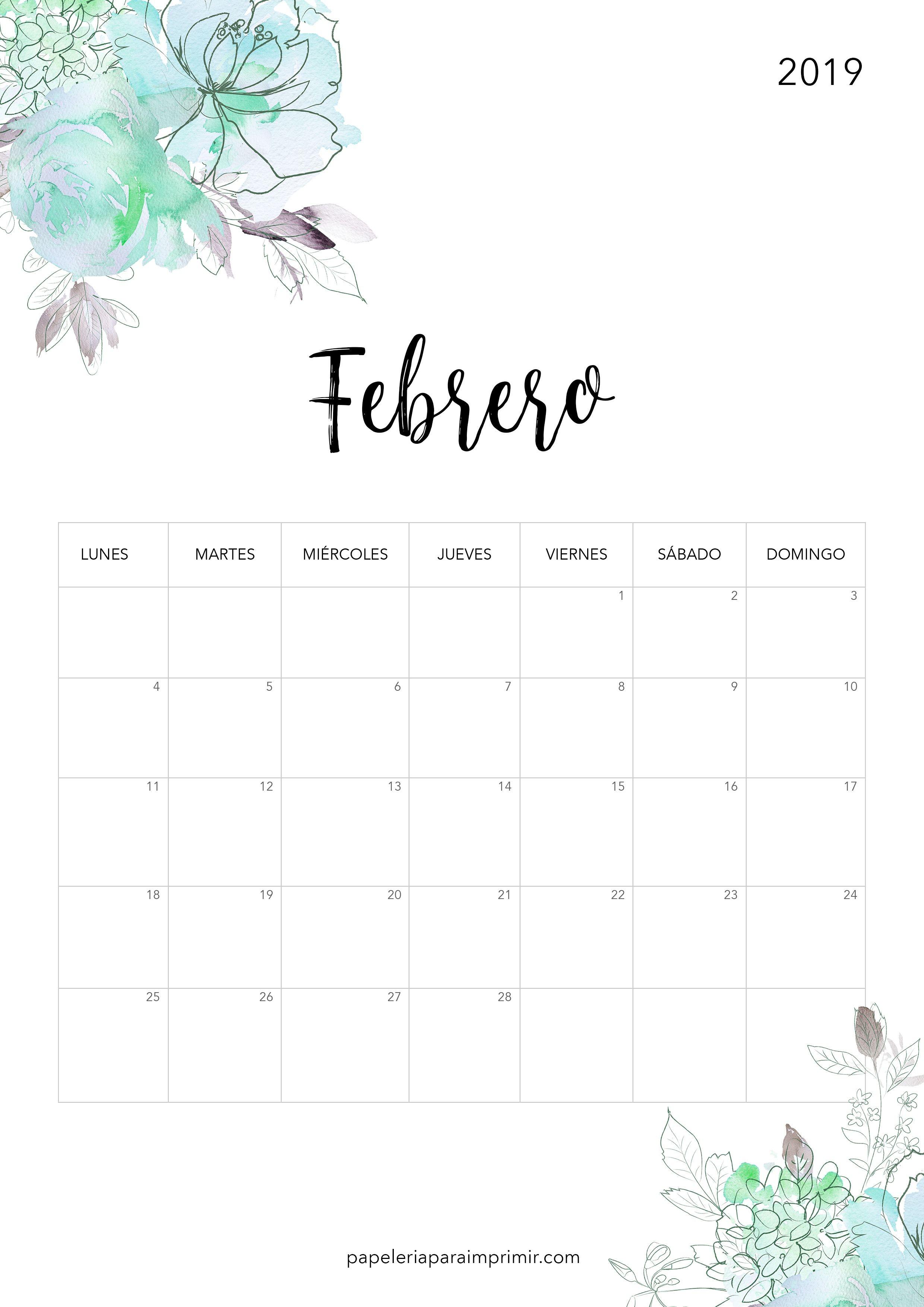 Calendario para imprimir 2019 Febrero calendario imprimir febrero february freebie