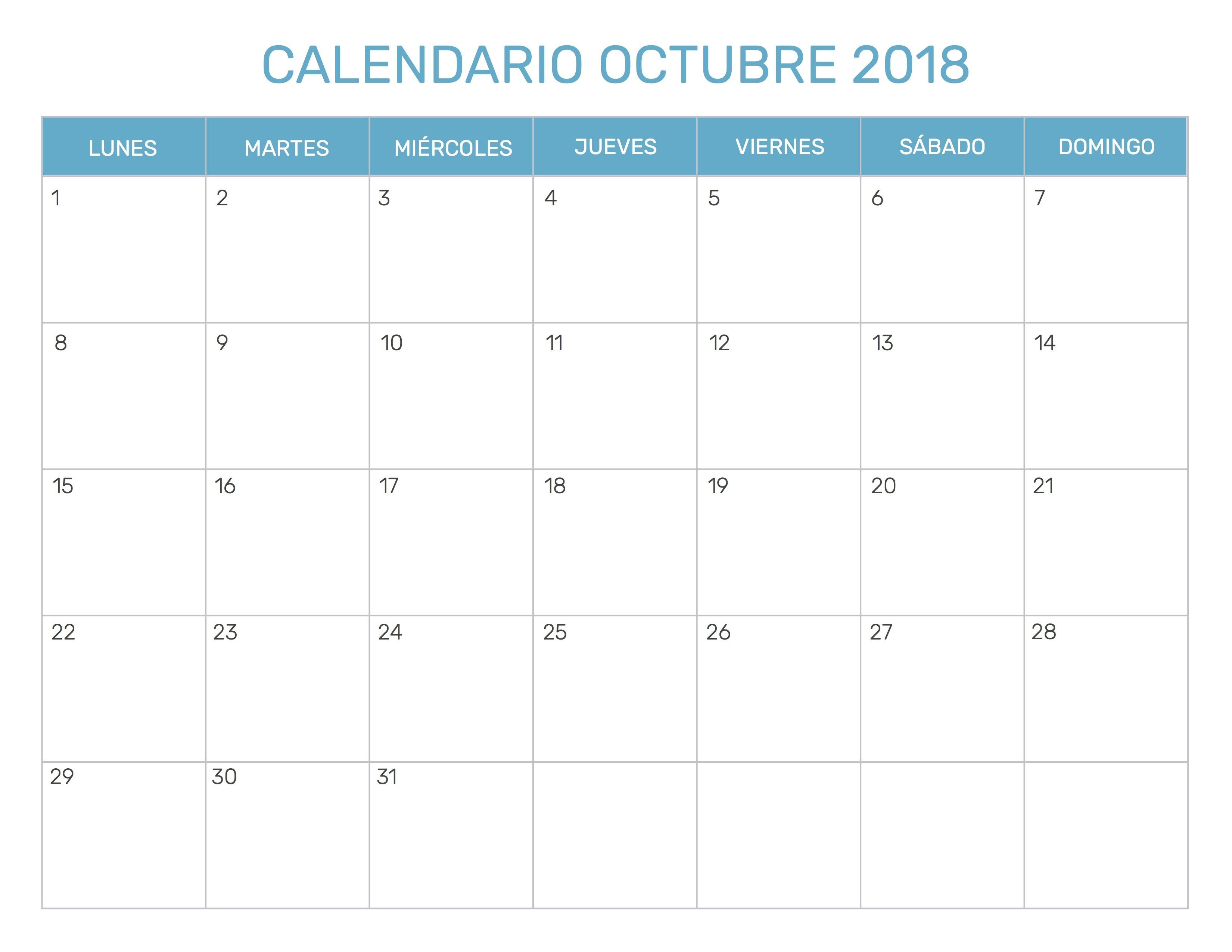 Calendario Octubre 2018 Colombia t
