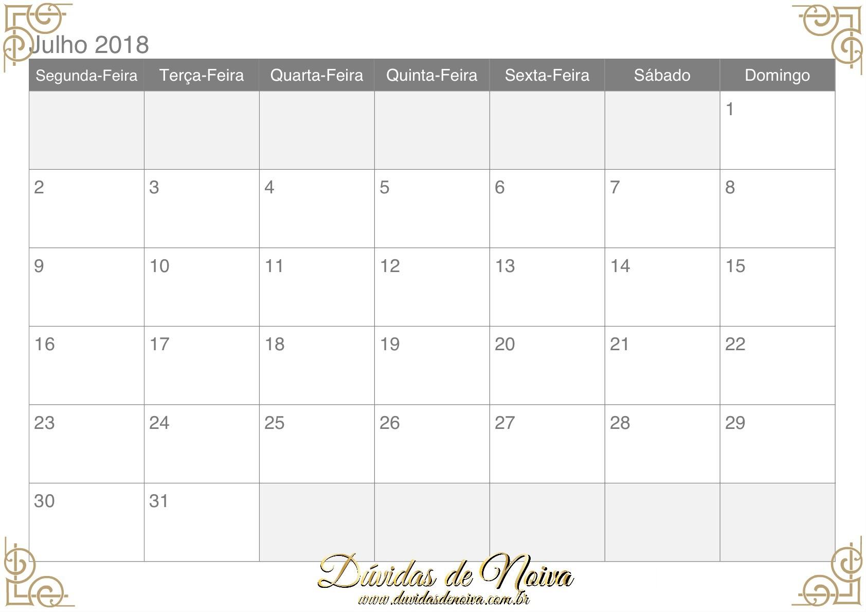 calendario 2018 julho
