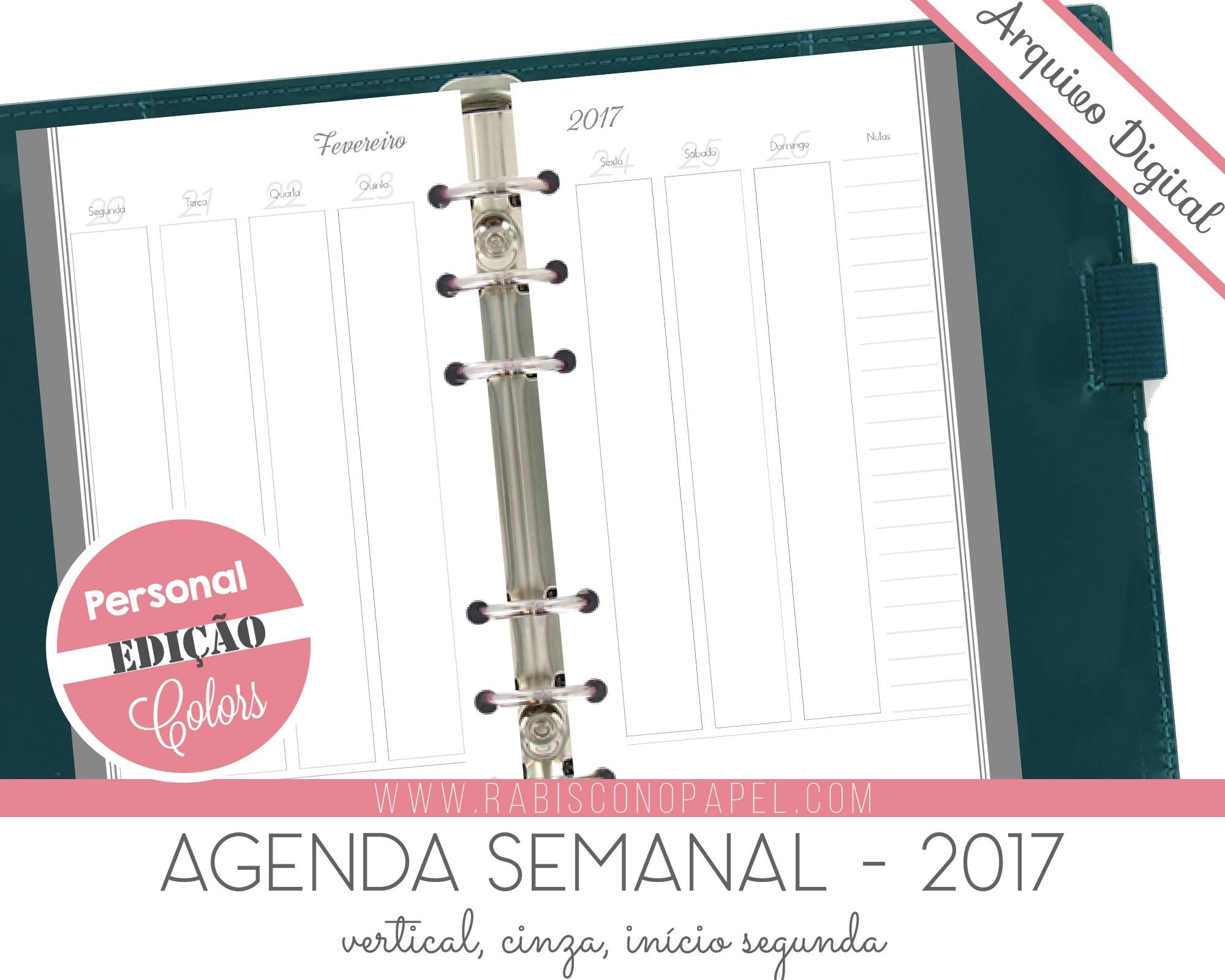 imprimivel agenda vertical 2017 personal cinza