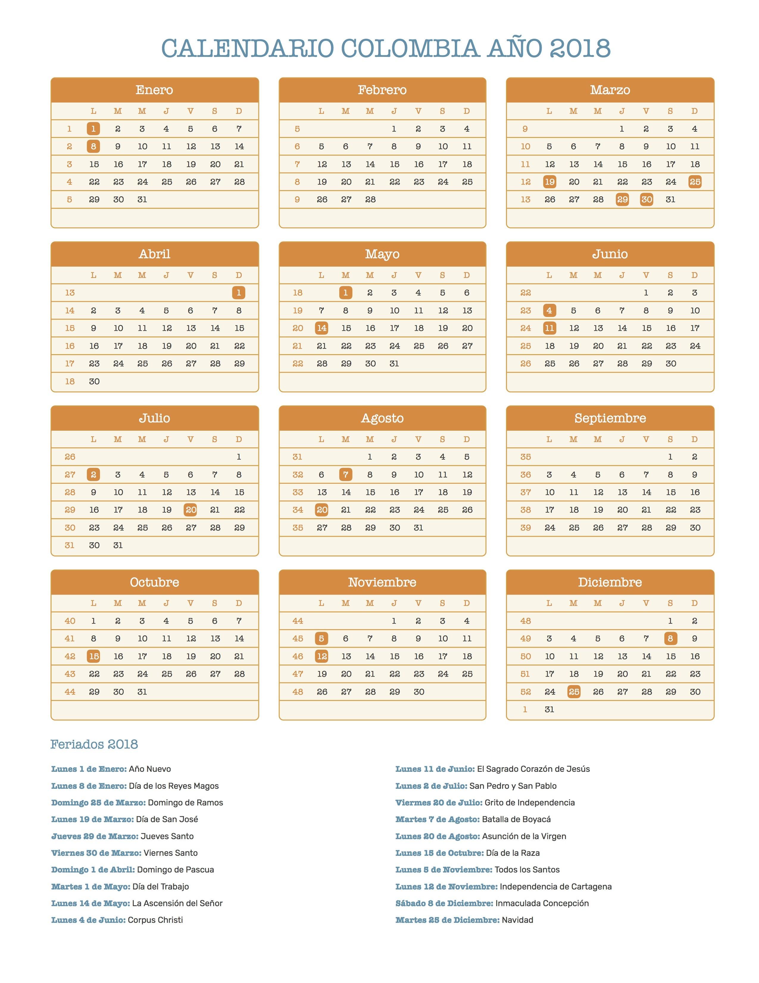 Calendario para Imprimir de Colombia con feriados nacionales